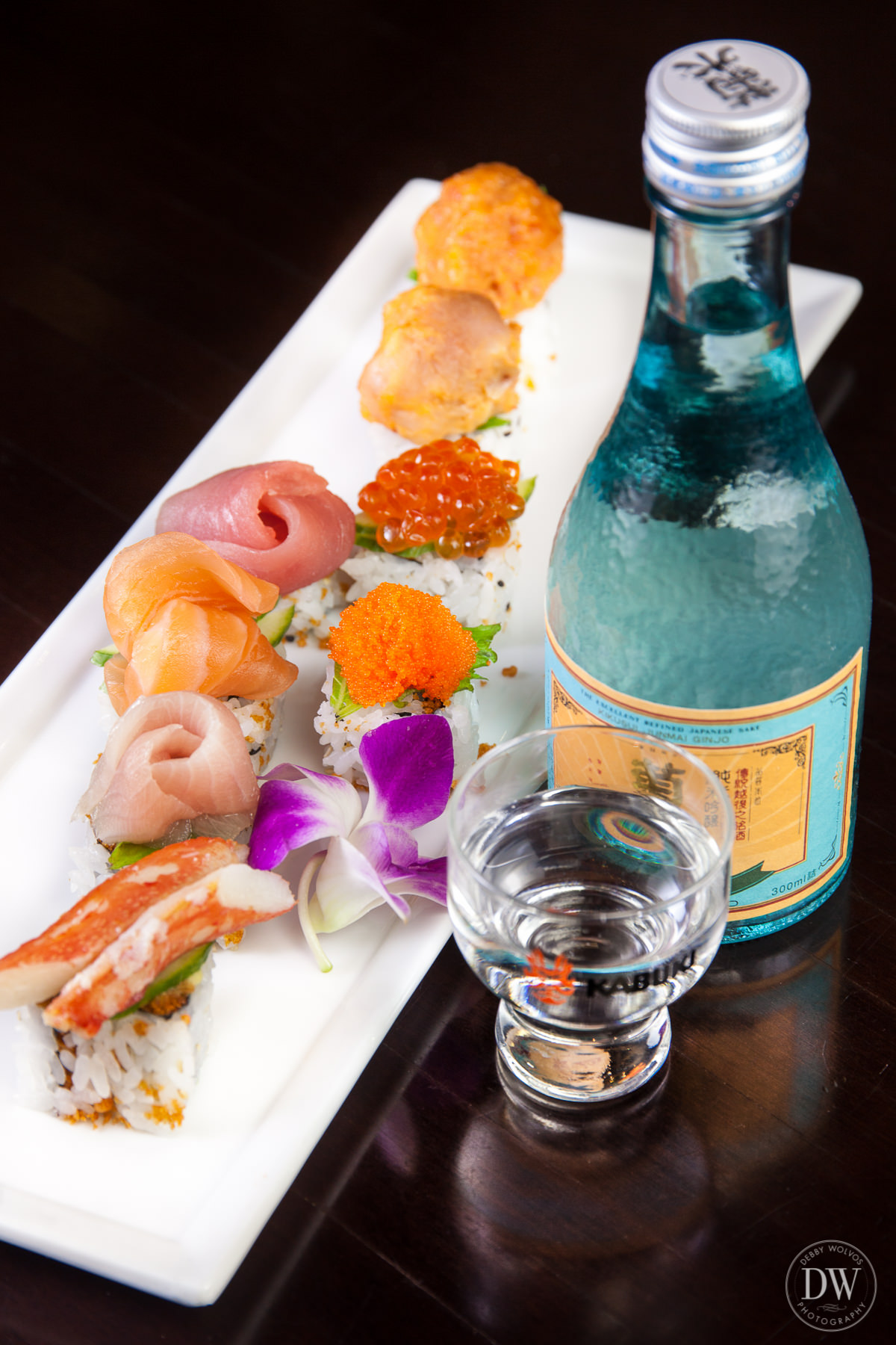"Yuji recommends pairing the signature Kabuki Roll ""with a smooth and clean sake such as   Kikusui Junmai Ginjo."""