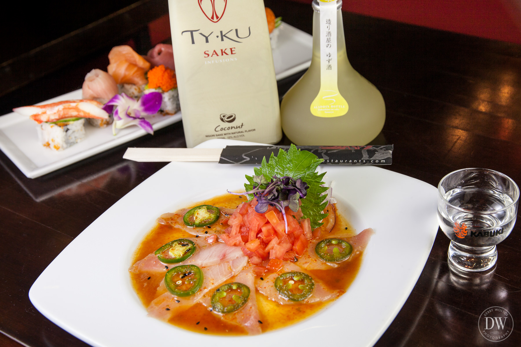 Yuji suggests ordering a sake like  Homare Aladdin Yuzu, a junmai made with yuzu juice (an aromatic Japanese citrus), to enjoy with yellowtail sashimi with  jalapeños and spicy ponzu sauce.