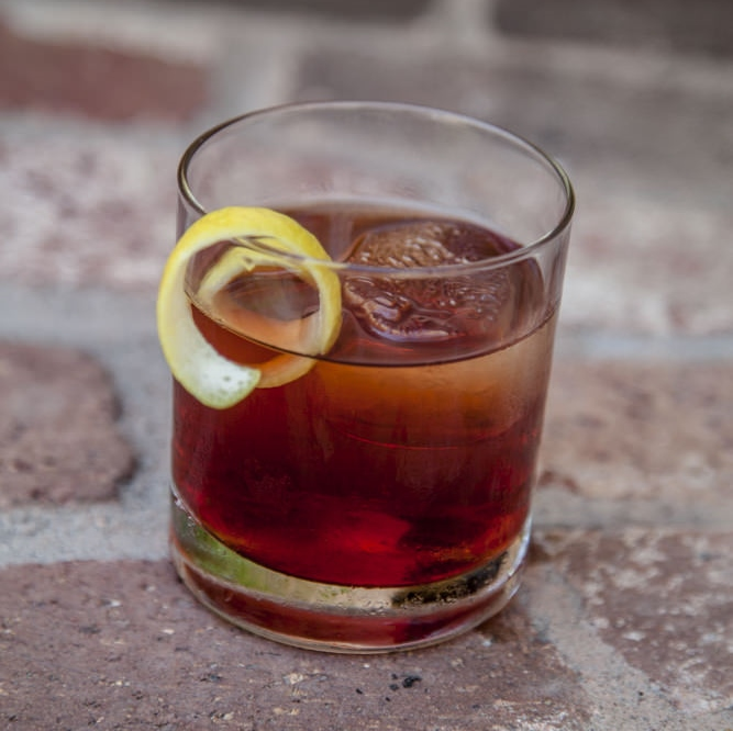 "For his Vieux-Carre, Charlie uses High West Double Rye, Carpano Antica sweet vermouth,  D'Ussé cognac, Benedictine, and Peychaud and Angostura bitters.  While it can be served up, he prefers his on the rocks ""because it evolves as the ice melts."""