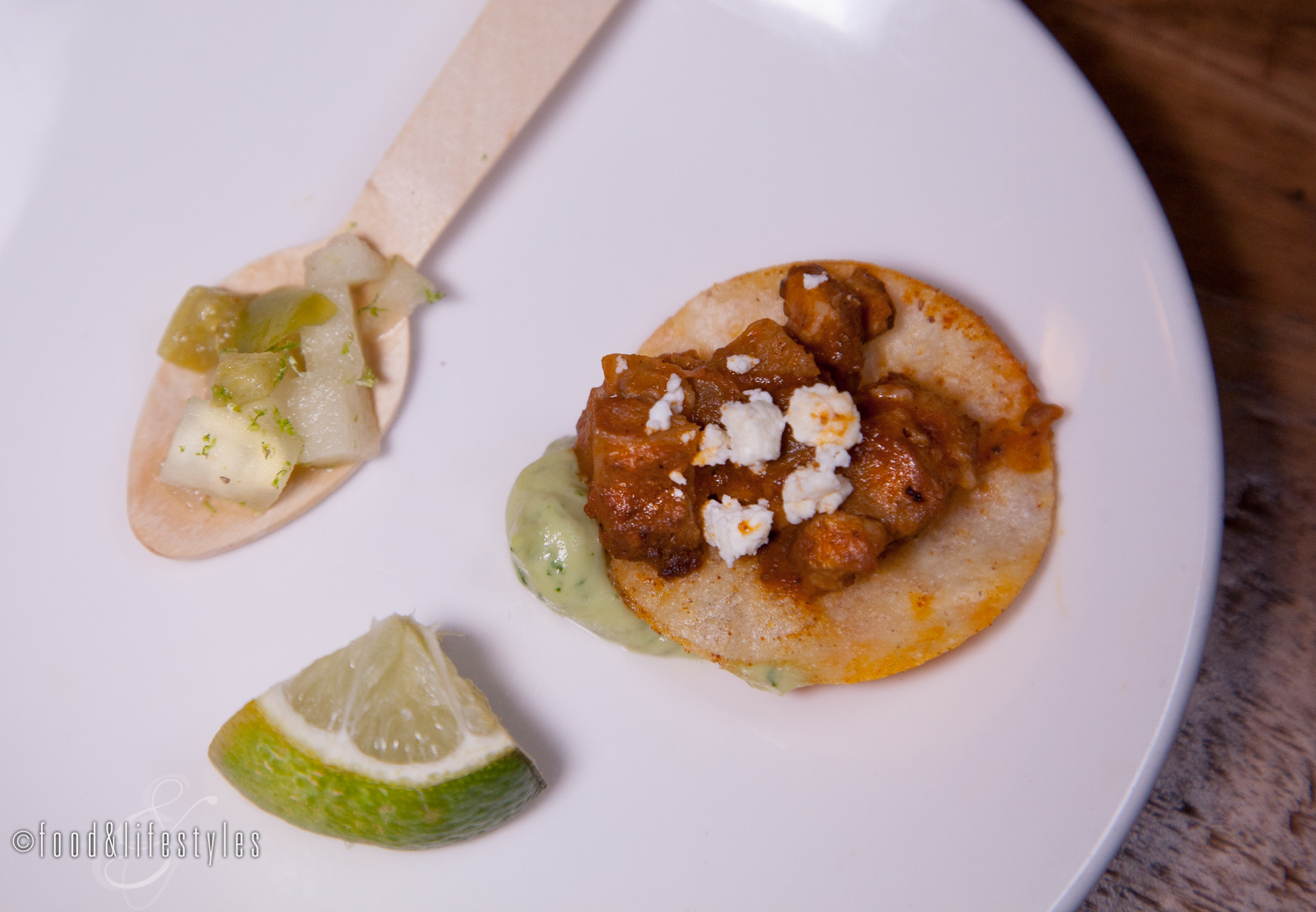 Lamb tostadas with smoked goat cheese and  tomatillo-apple salsa