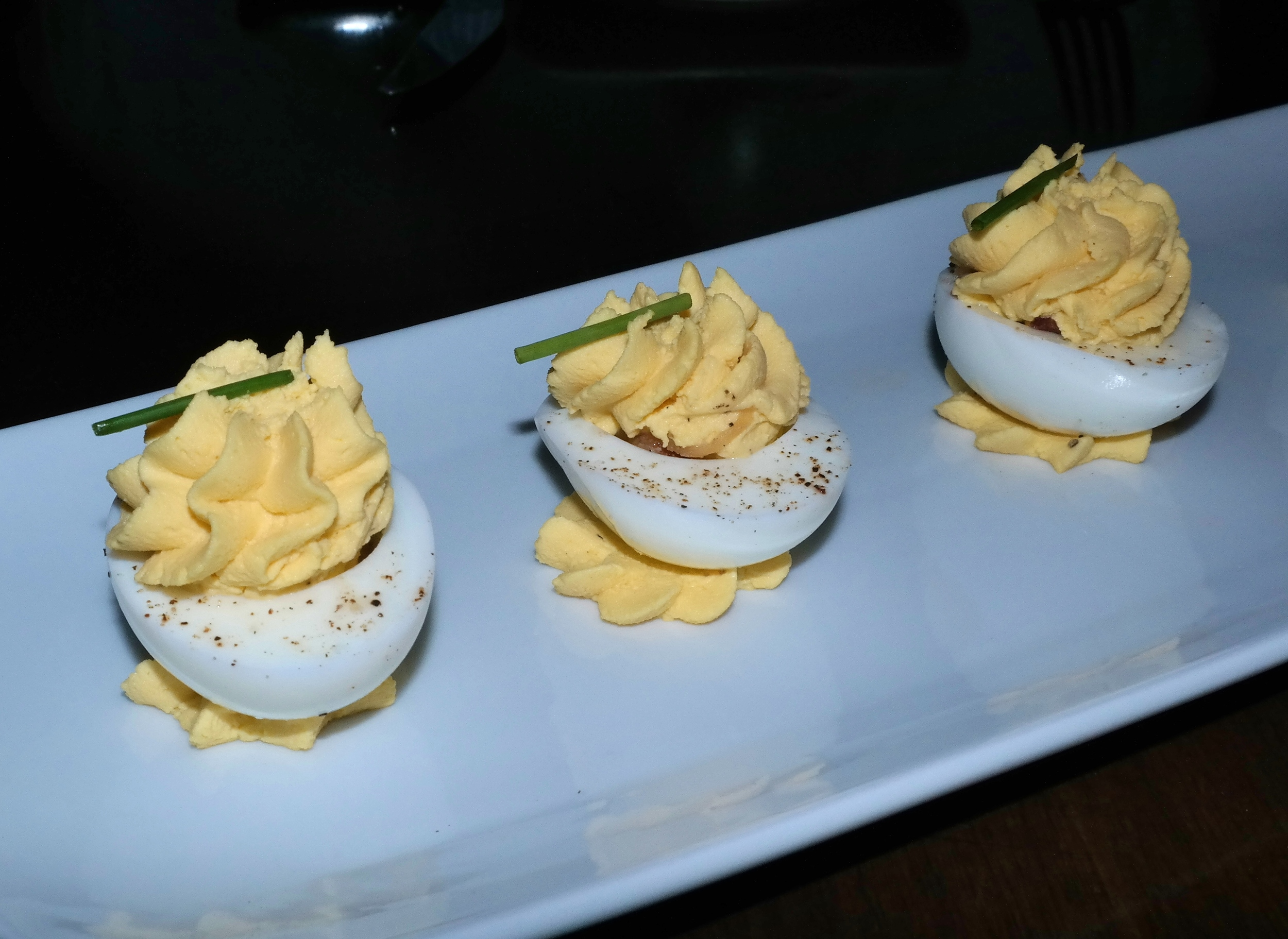 Hickman's Farm deviled eggs with Dijon and bacon jam