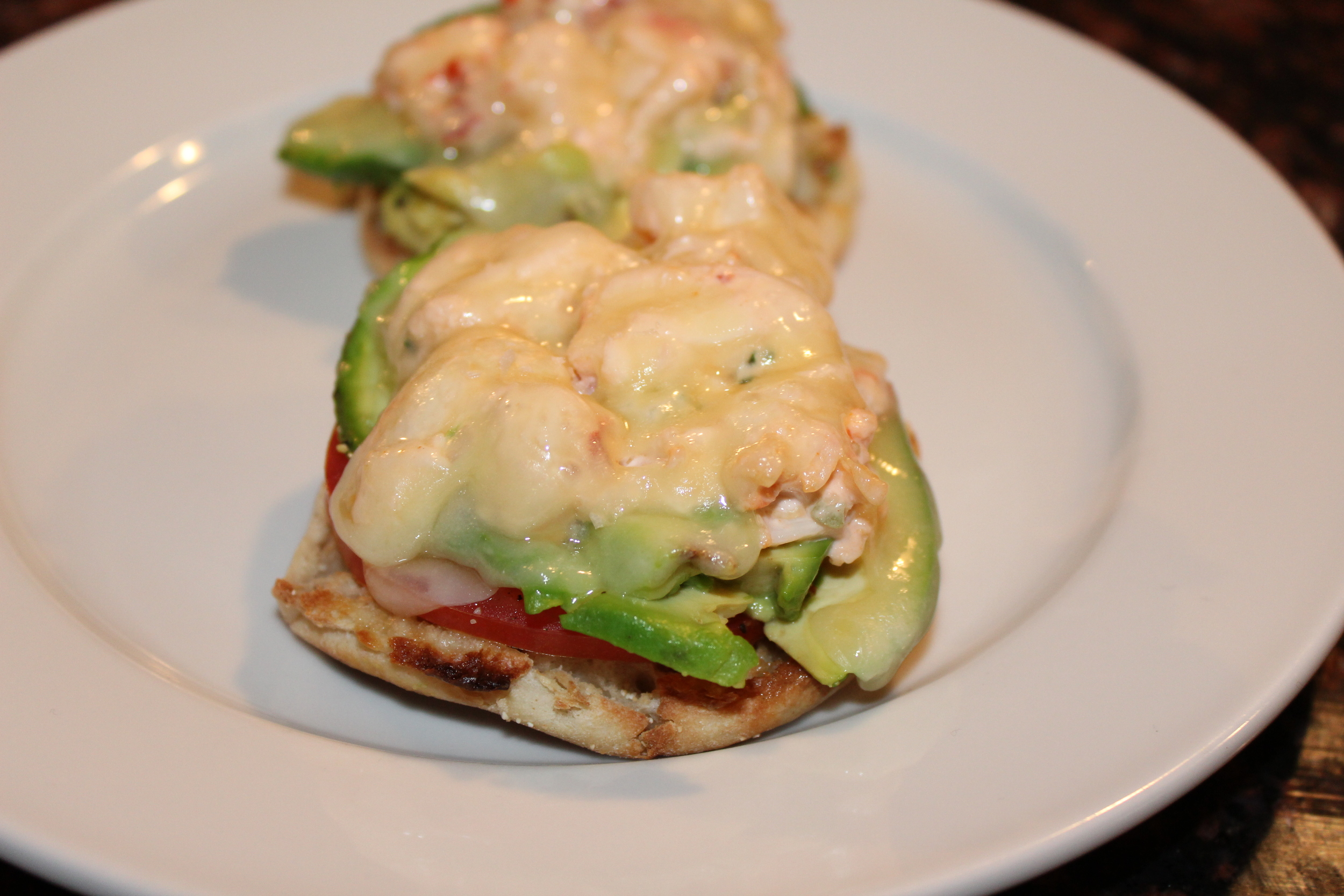 Lobster melts with avocado and tomato