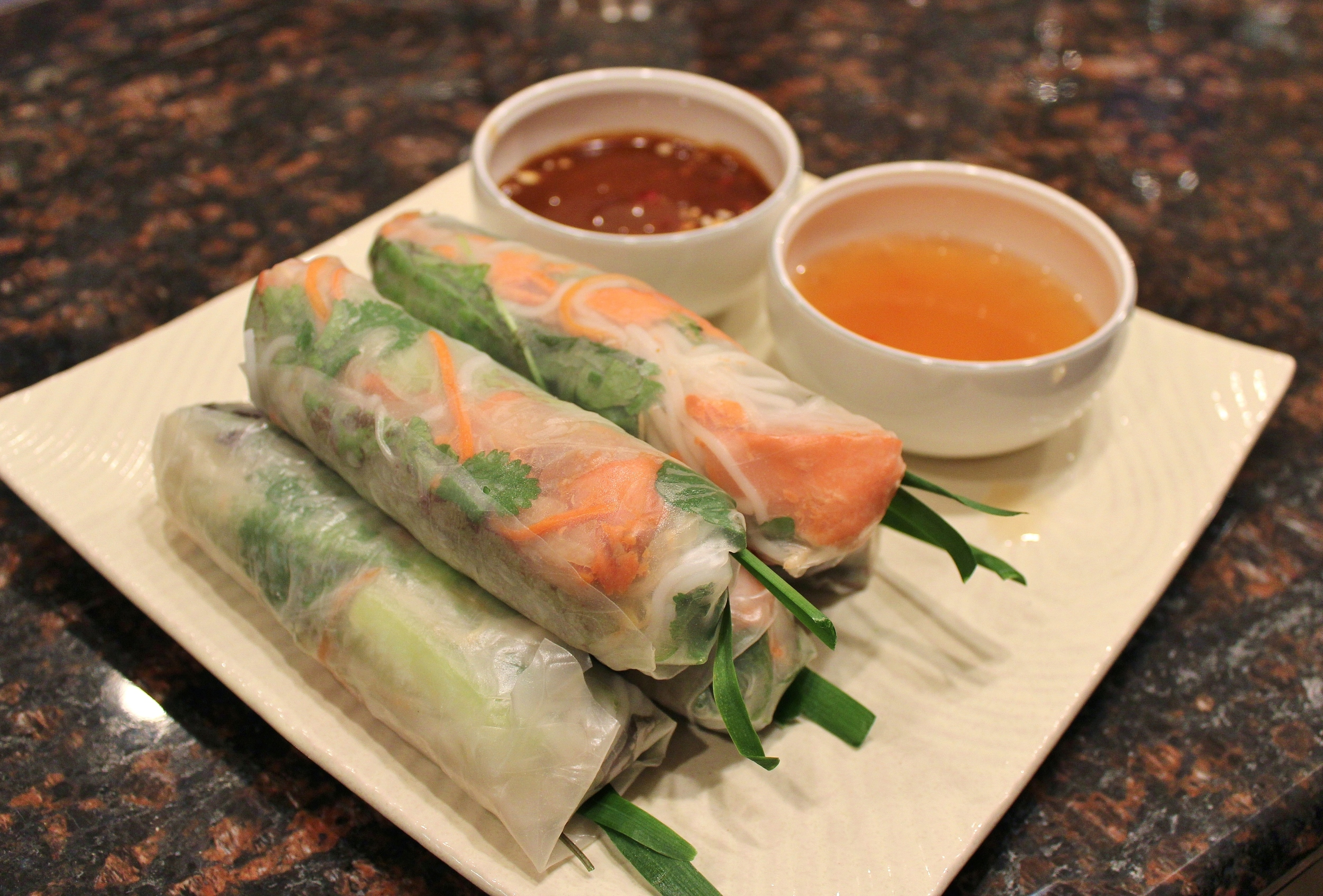 Rice paper rolls with hoisin-glazed salmon