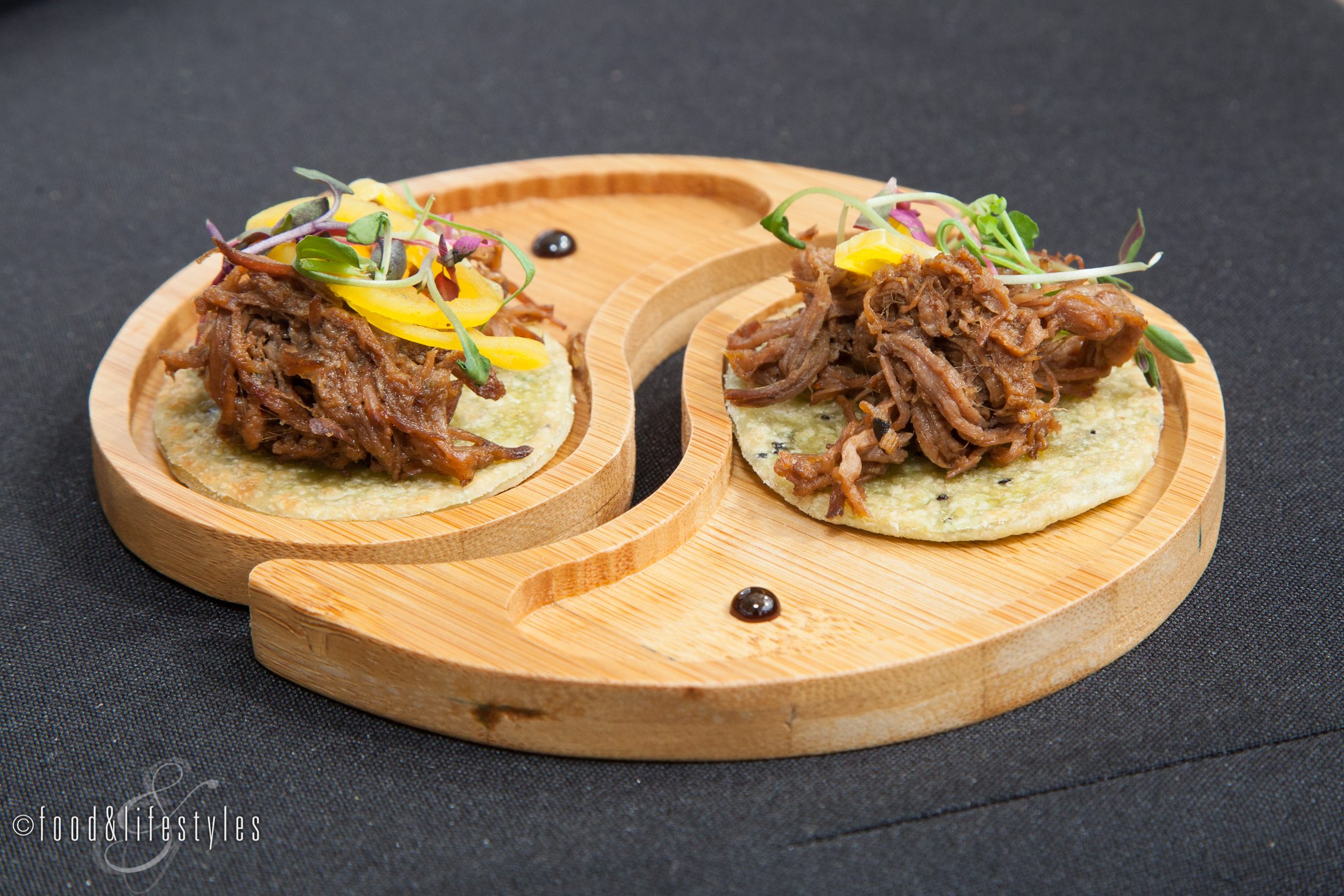 Kai: Wild game machaca on I'itoi onion flatbread