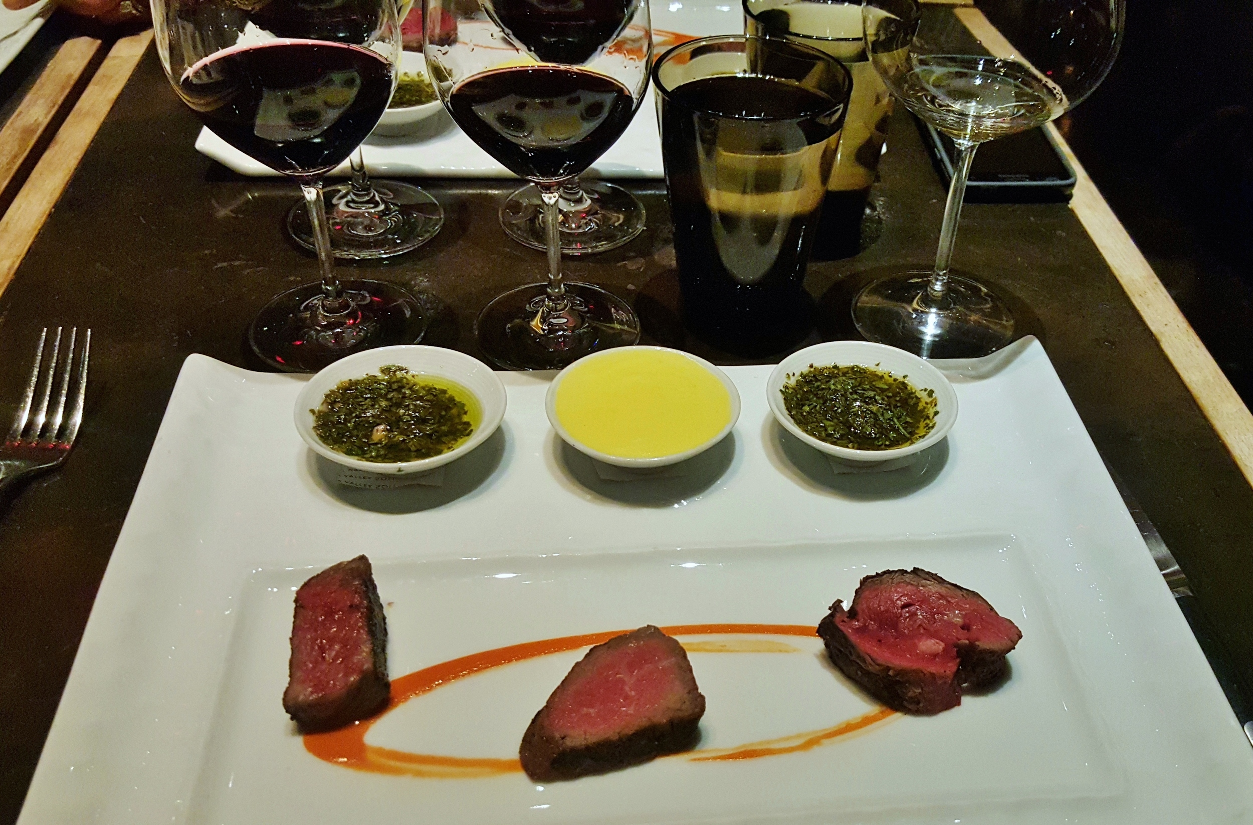 Beef trio: Wagyu A5, USDA prime, and sirloin cap. With chimichurri, bearnaise, and salsa verde.
