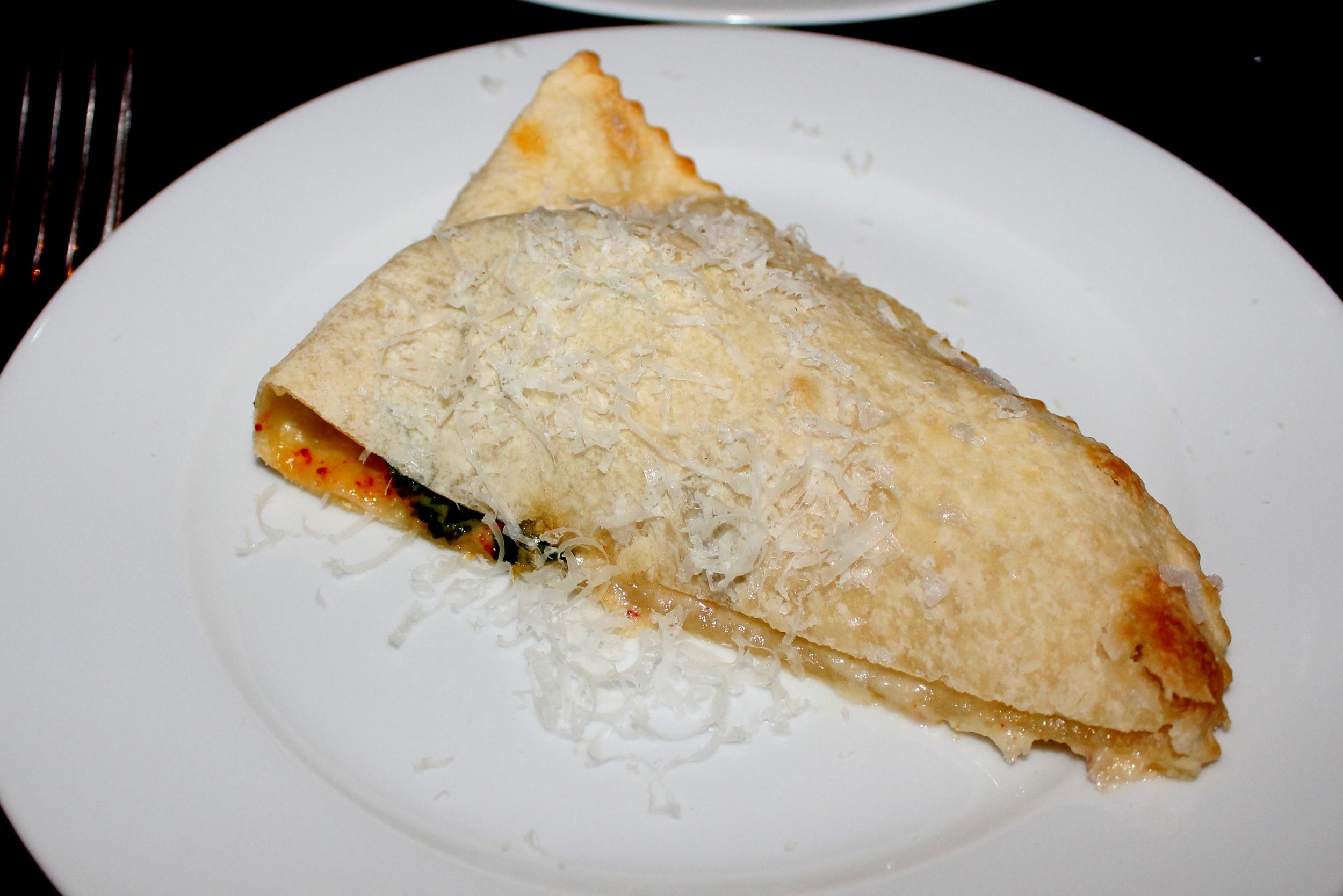 Foccacia di Recco stuffed with stracchino cheese and ramps