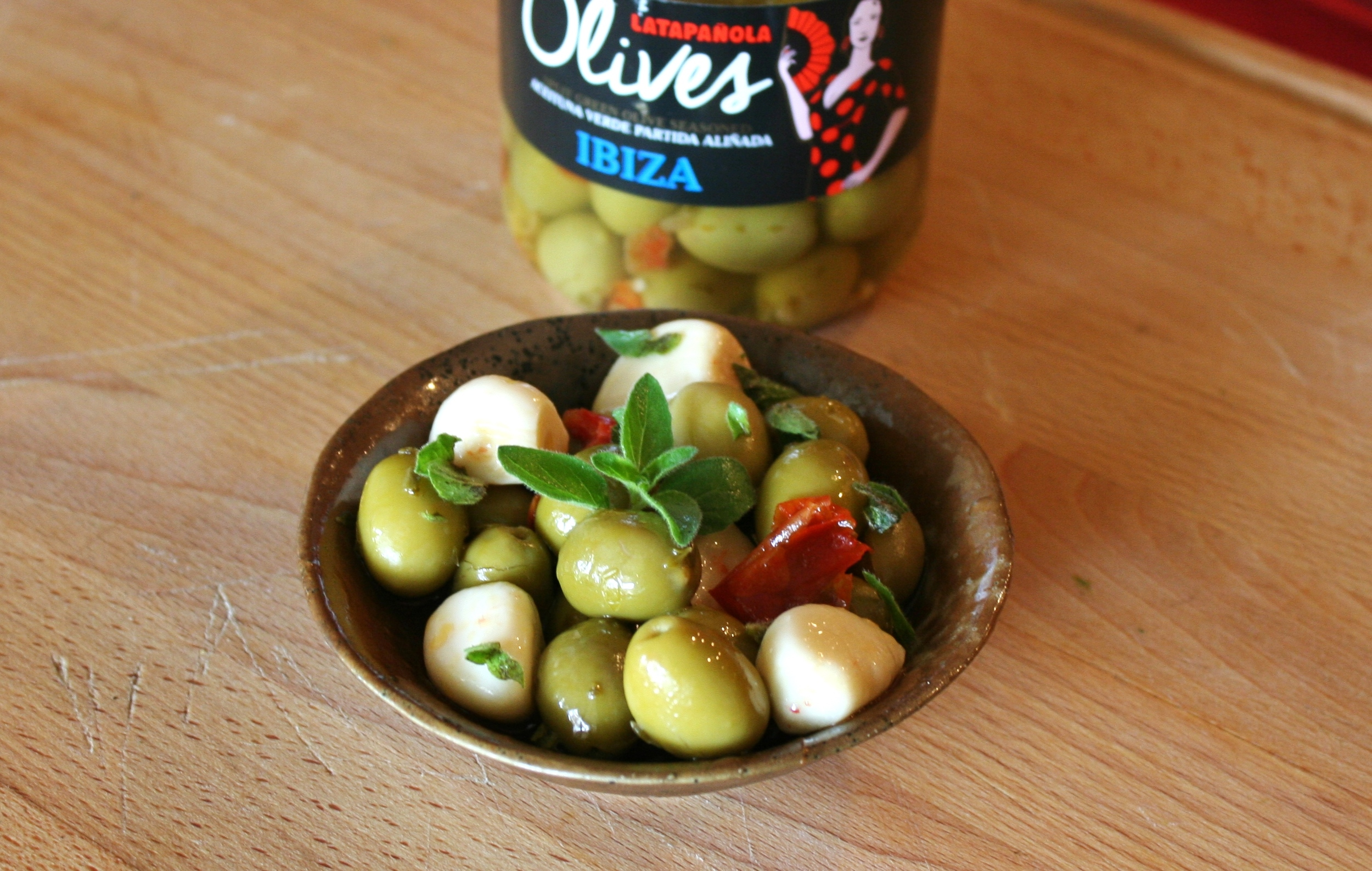 olives and pickled garlic
