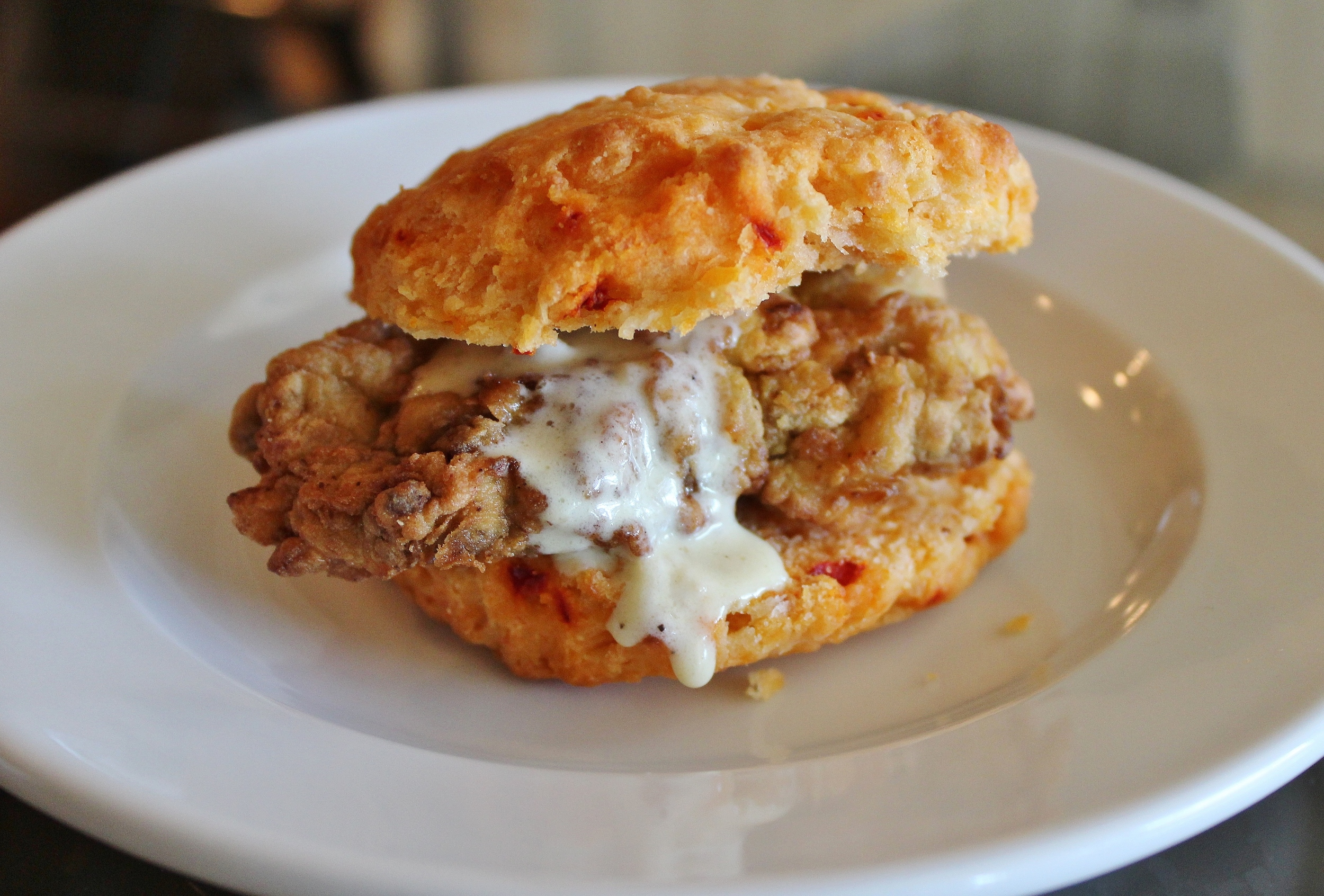 Chicken Fried Steak sliders on Pimento Cheese Biscuits