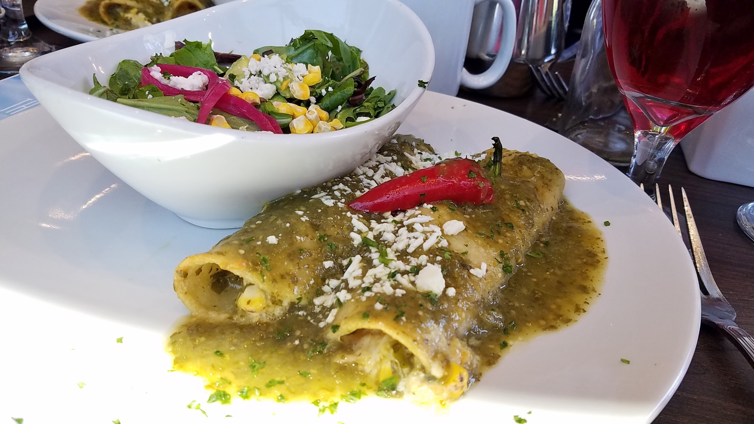 Butternut squash and corn enchiladas