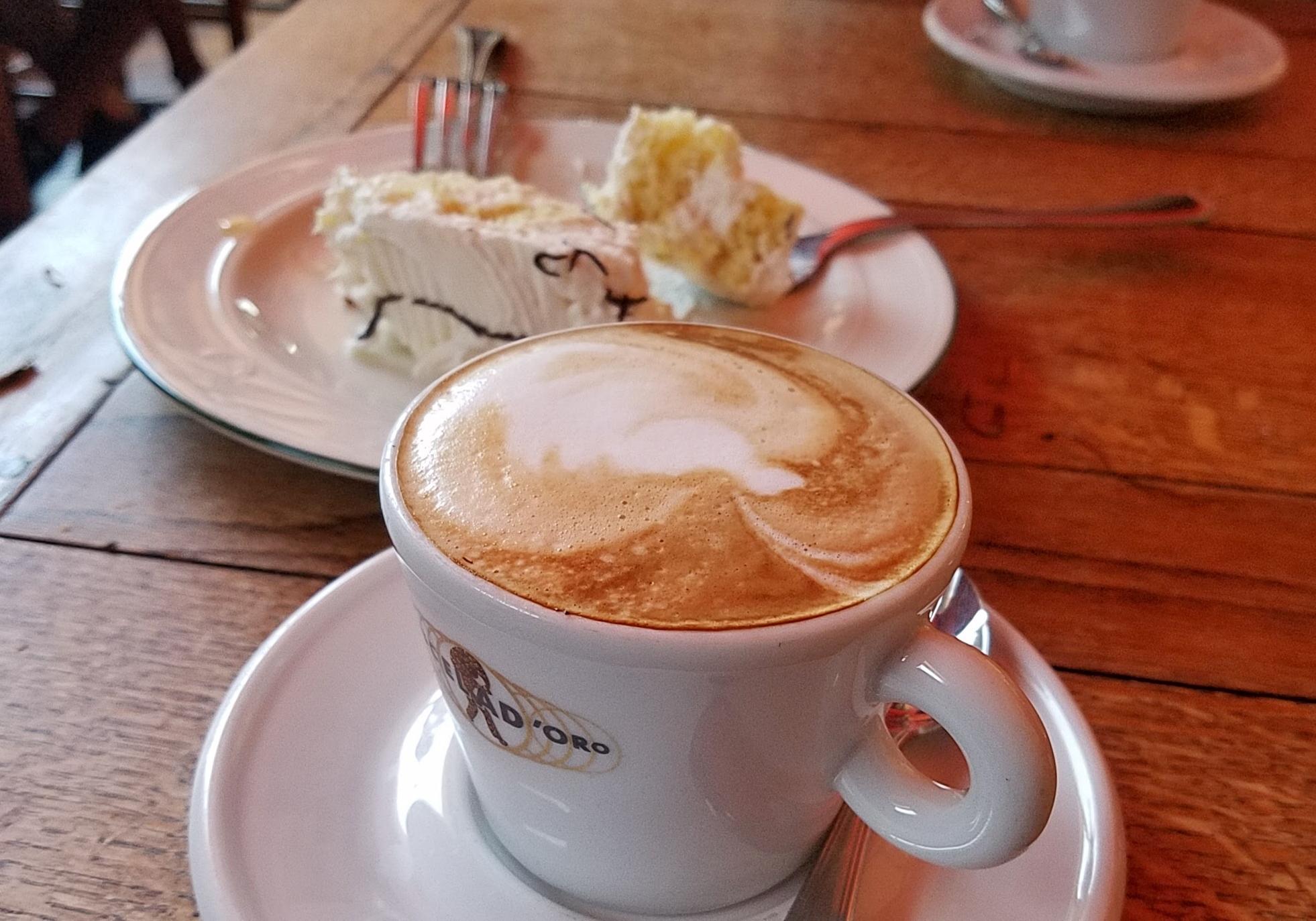 Cappuccino and coconut cake