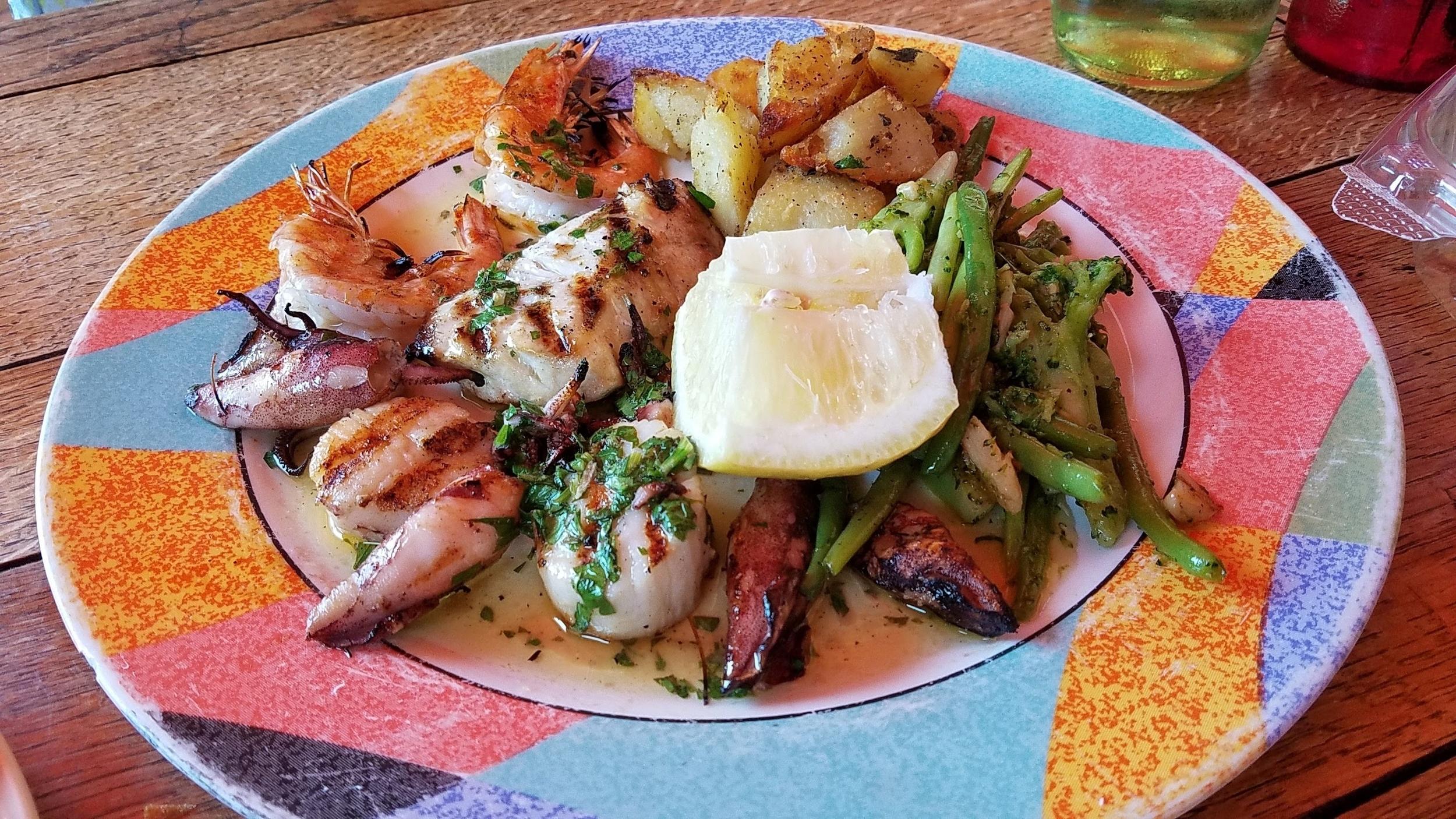 Pesce Misto special (grilled scallops, shrimp, calamari, and sea bass)