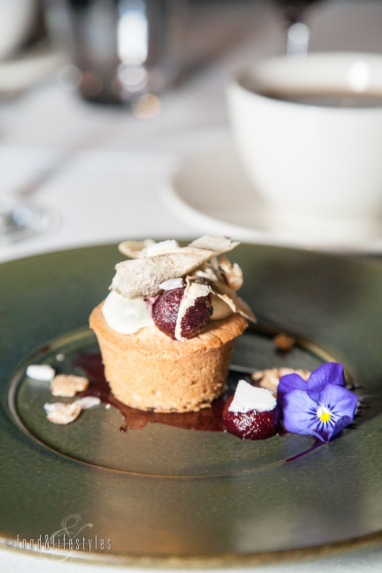 Pear frangipani with almonds and cassis