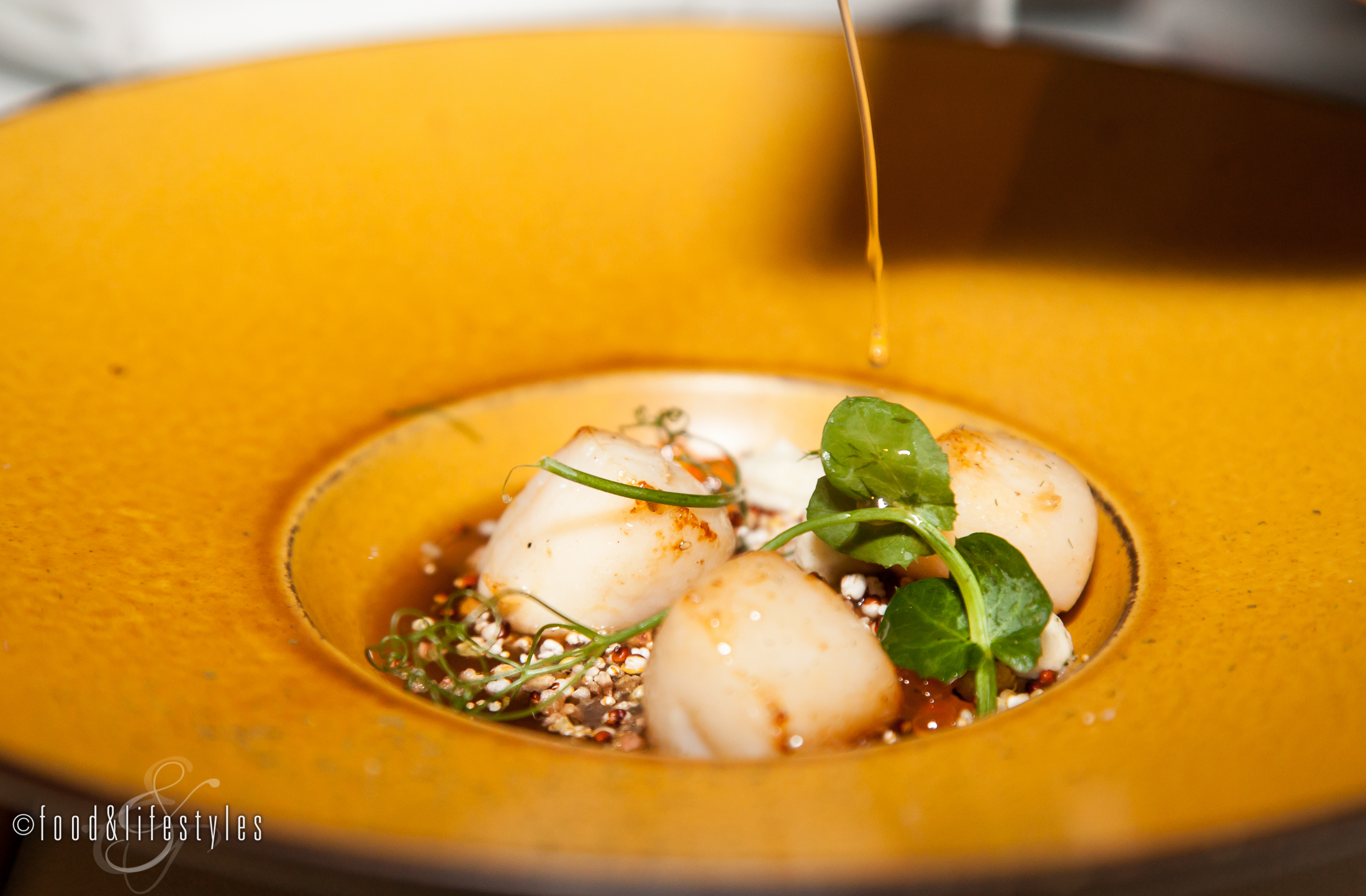 Nantucket Bay scallops with smoked trout and puffed grains