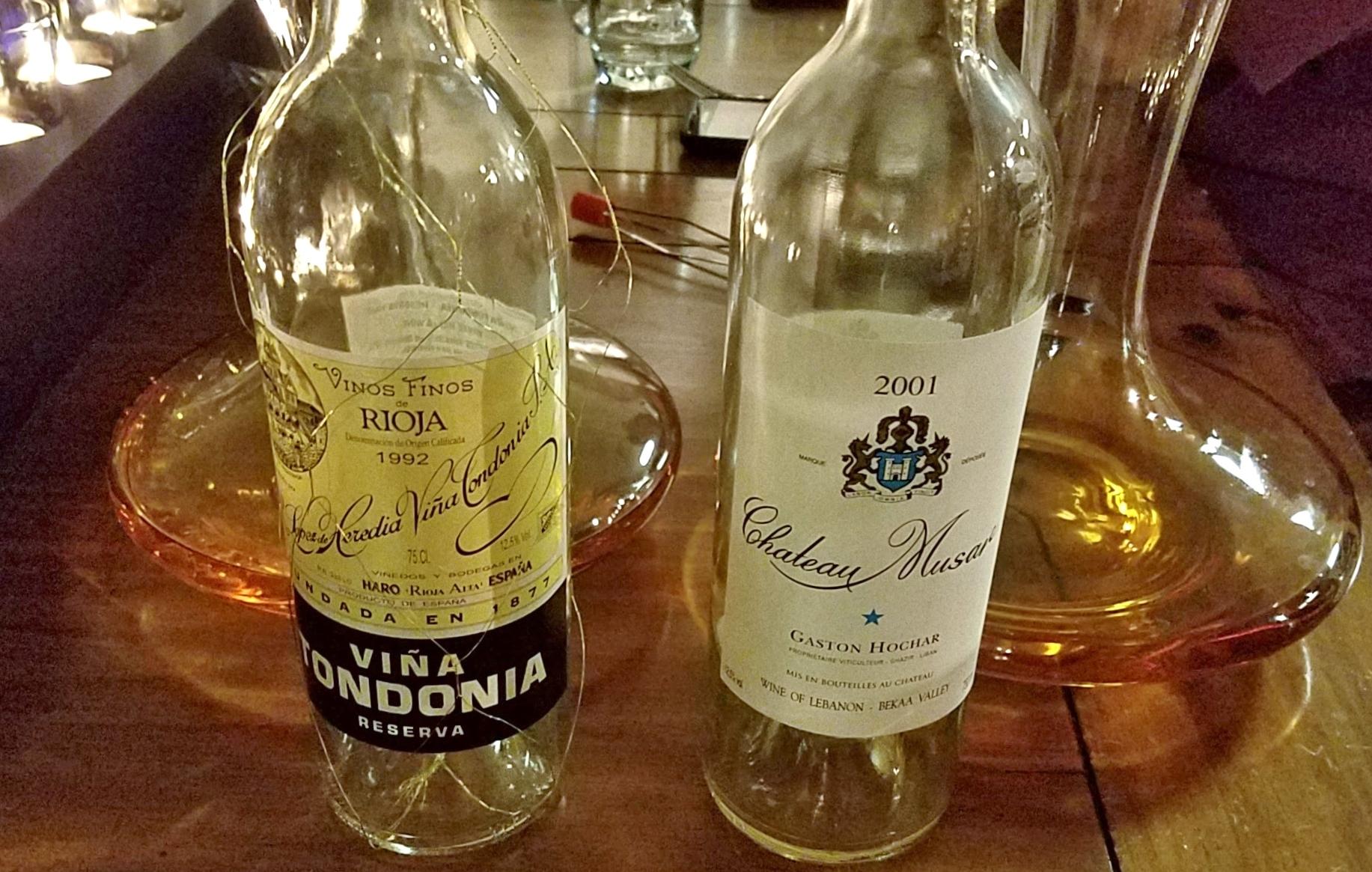 1992 Viña Tondonia Reserva and 2001 Chateau Musar