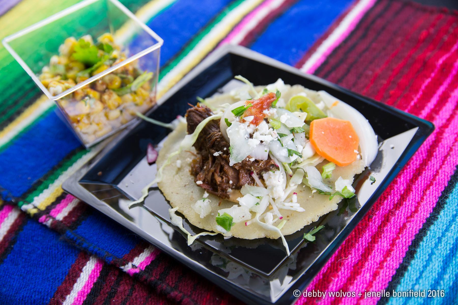 Machaca taco and street corn - Blanco Tacos