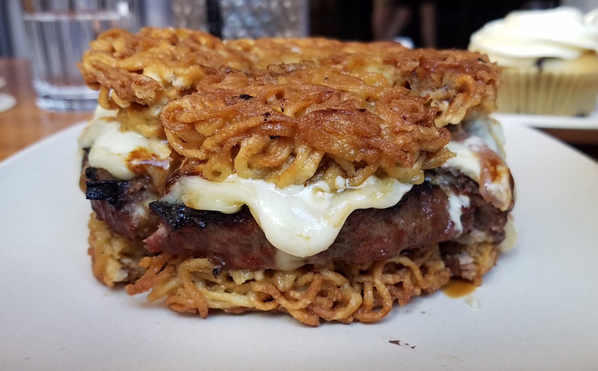 Chef Bob Tam's Momo Ramen Burger at Bitter and Twisted