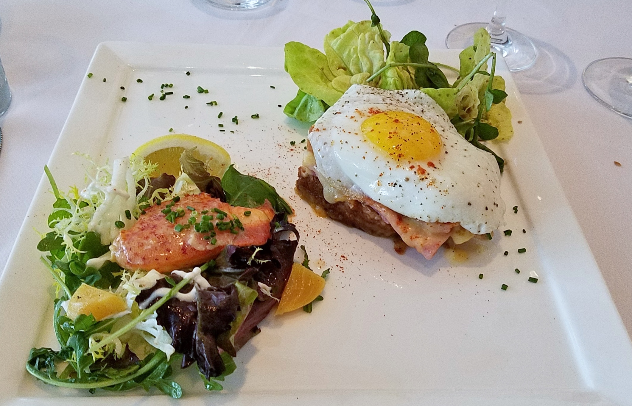 Lobster salad and Croque Madame
