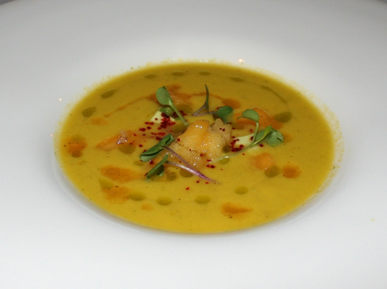 Yellow tomato gazpacho with avocado-lime gelée, peach granité, tarragon oil drizzle.