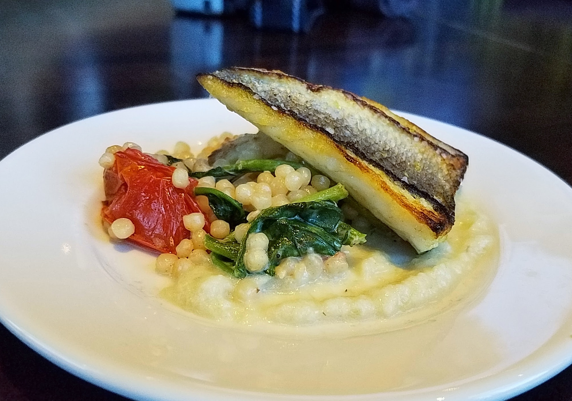 Branzino with Israeli couscous and fennel puree