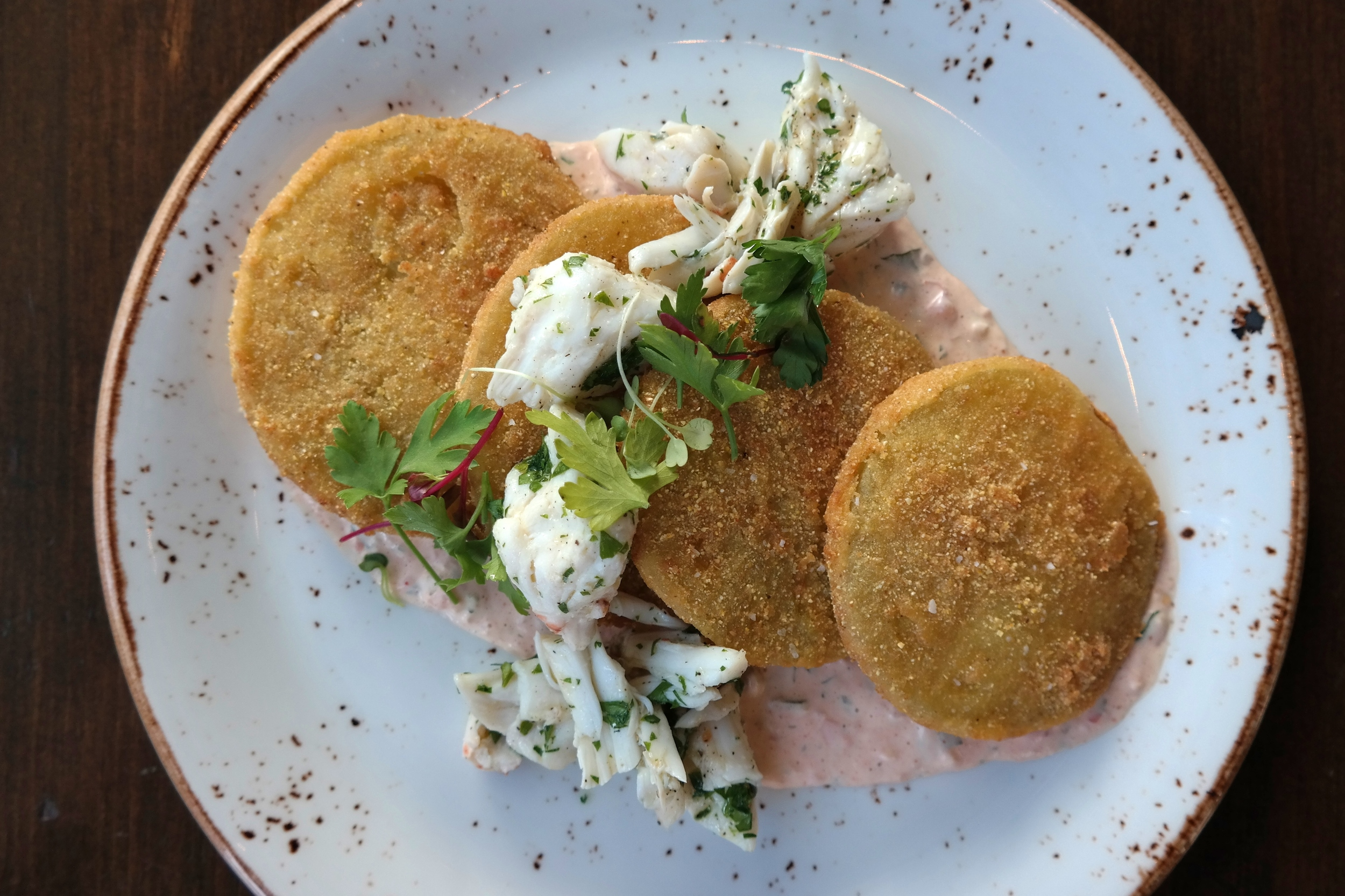 Fried green tomatoes with spicy remoulade and jumbo lump crab