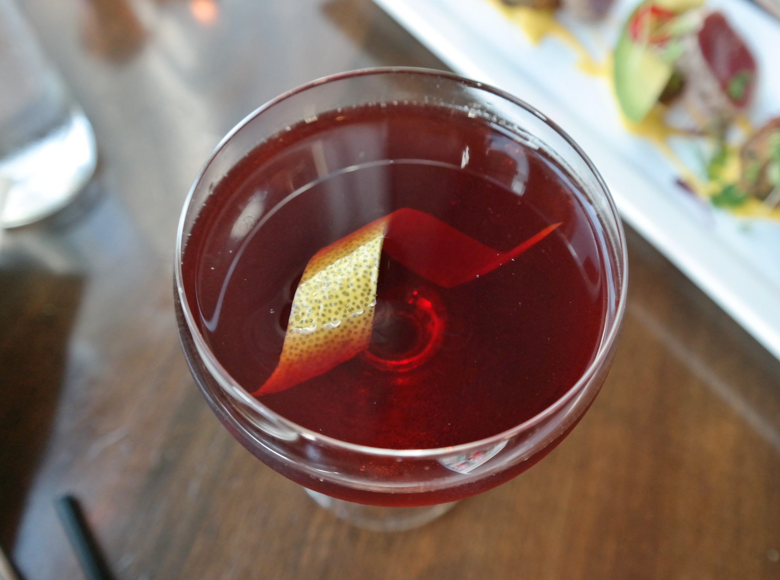 On Top of Mont Blanc: Bulldog gin, walnut liqueur, blackberry liqueur, and lemon bitters