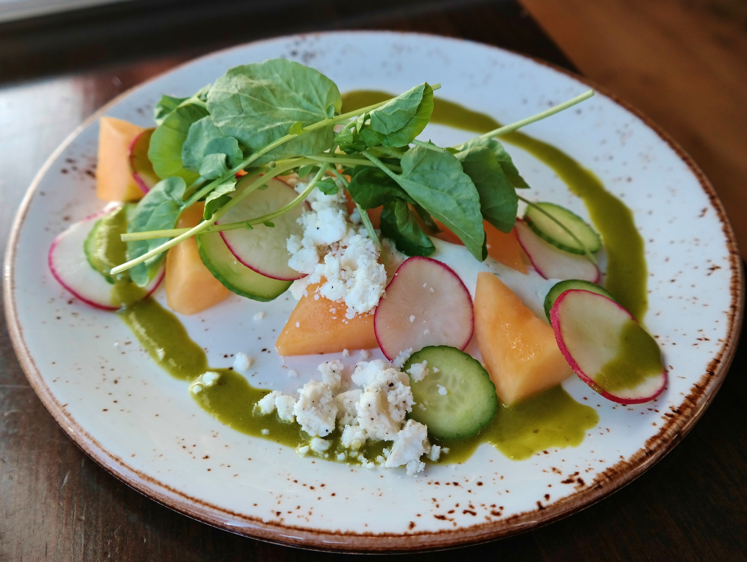 AZ Summer Salad with boursin, cucumber, melon, radish and feta