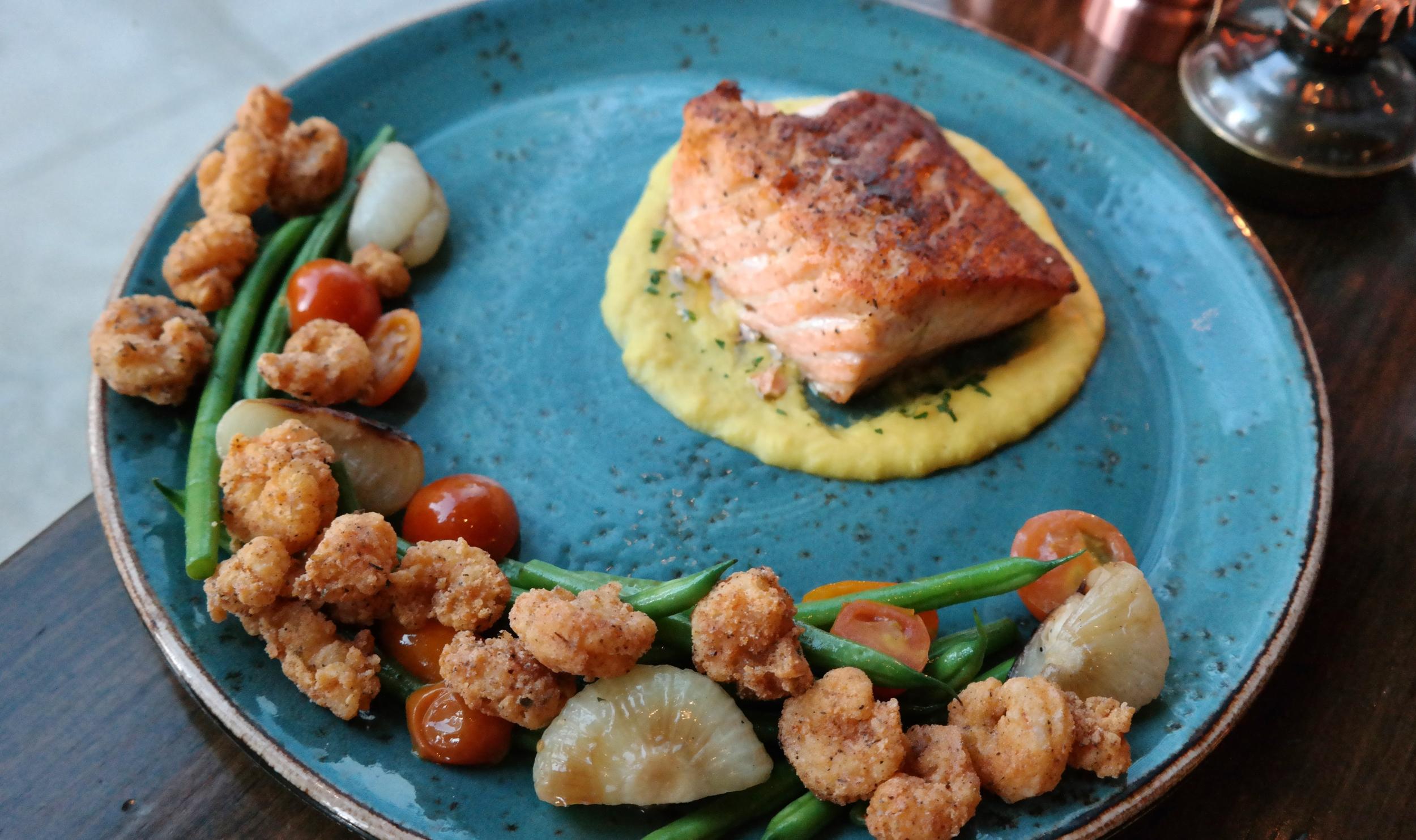 Salmon with corn puree and rock shrimp