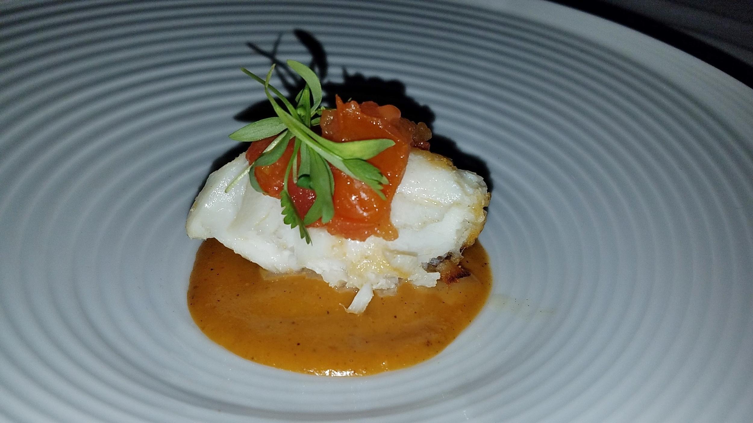 5: halibut with xocontole and white wine-guayaba reduction