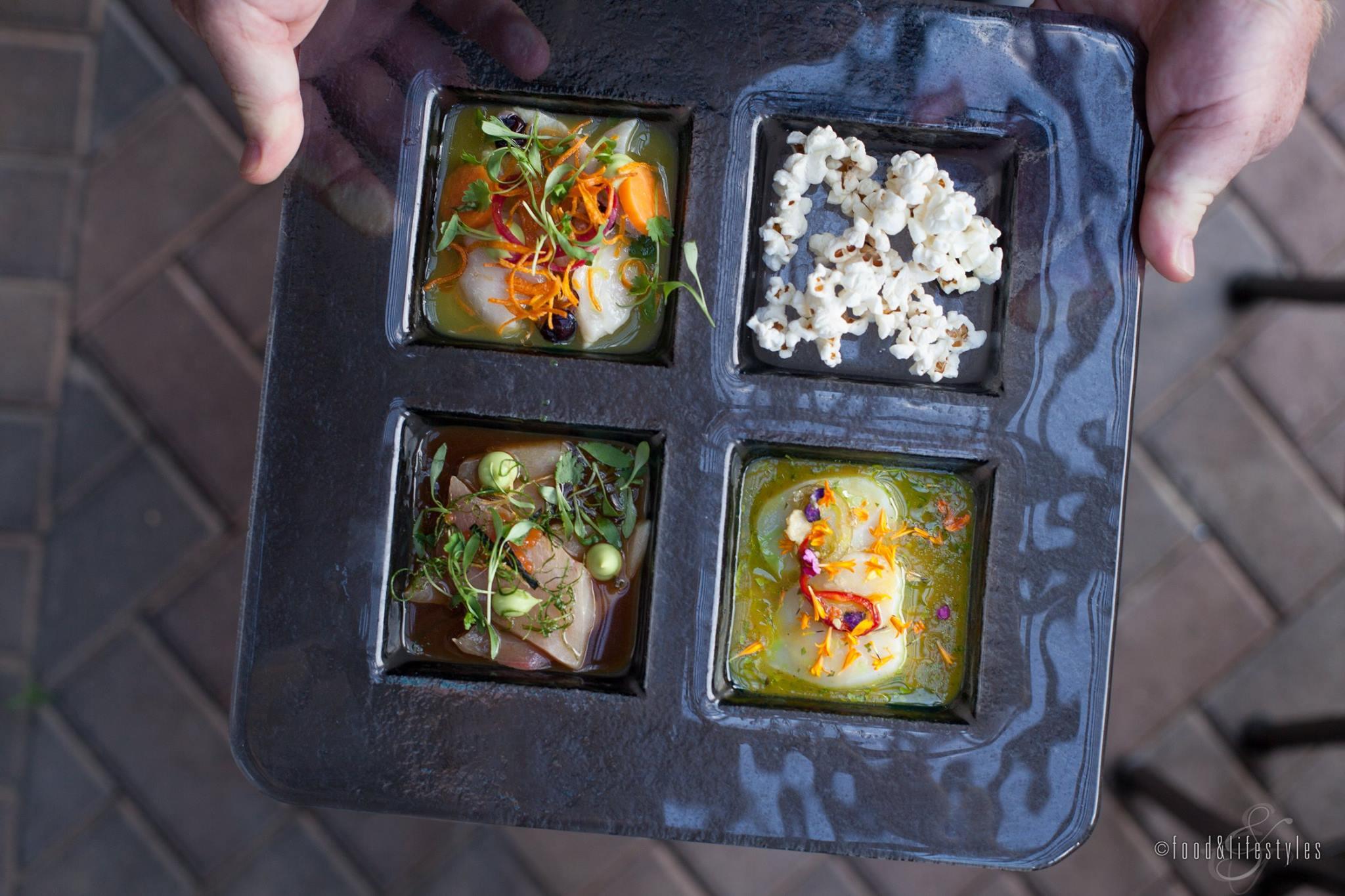 Ceviche trio with nitro popcorn at Deseo