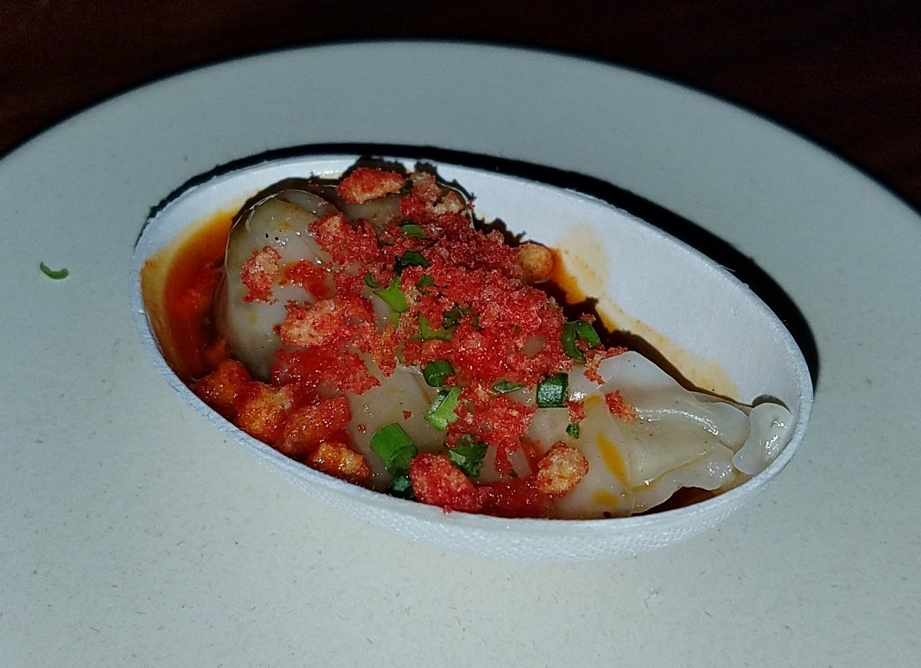 Sichuan tongue wontons with Flamin' Hot Cheetos