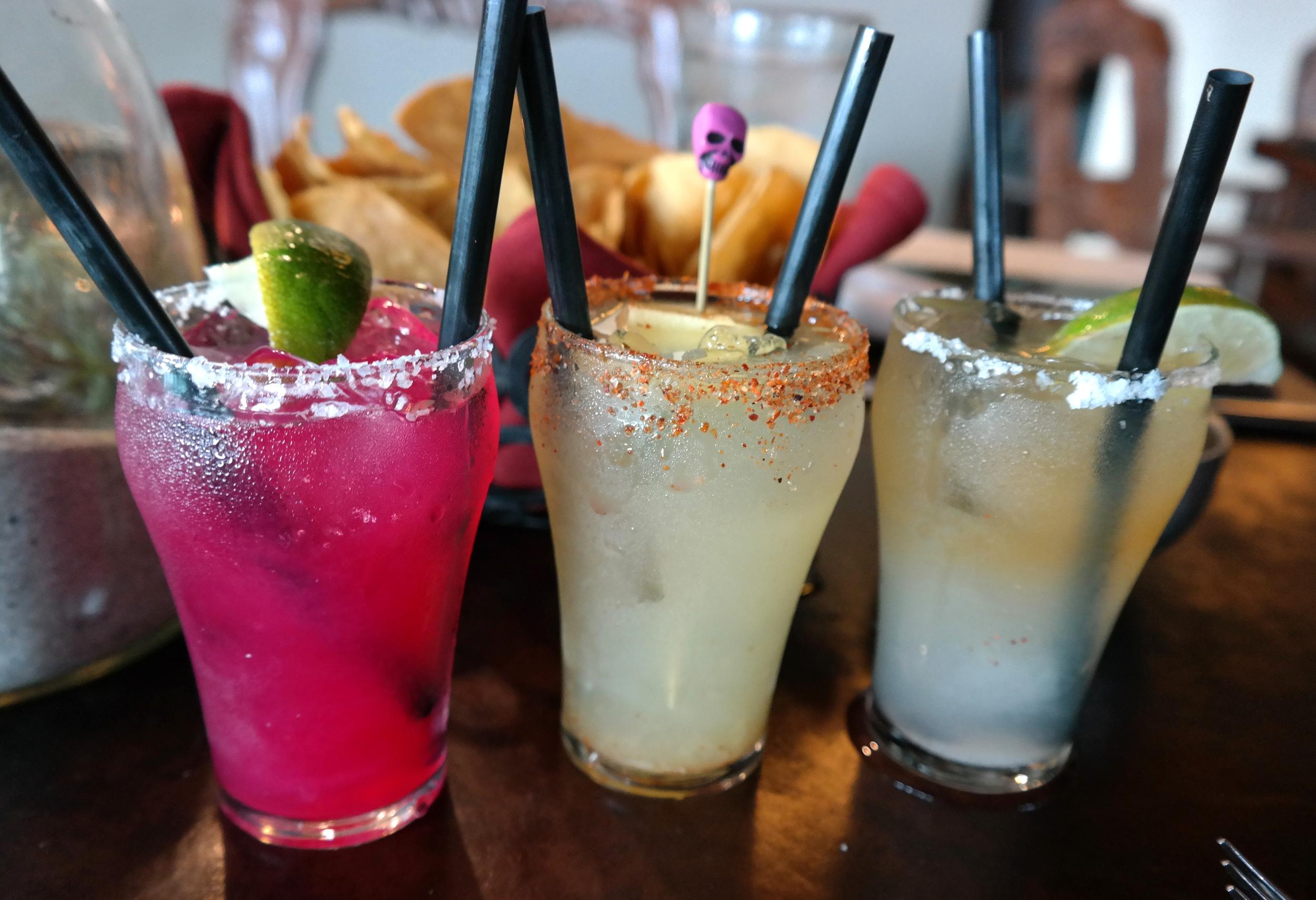 Margaritas: Prickly Pear, El Pina Diablo, and Cadillac El Dorado