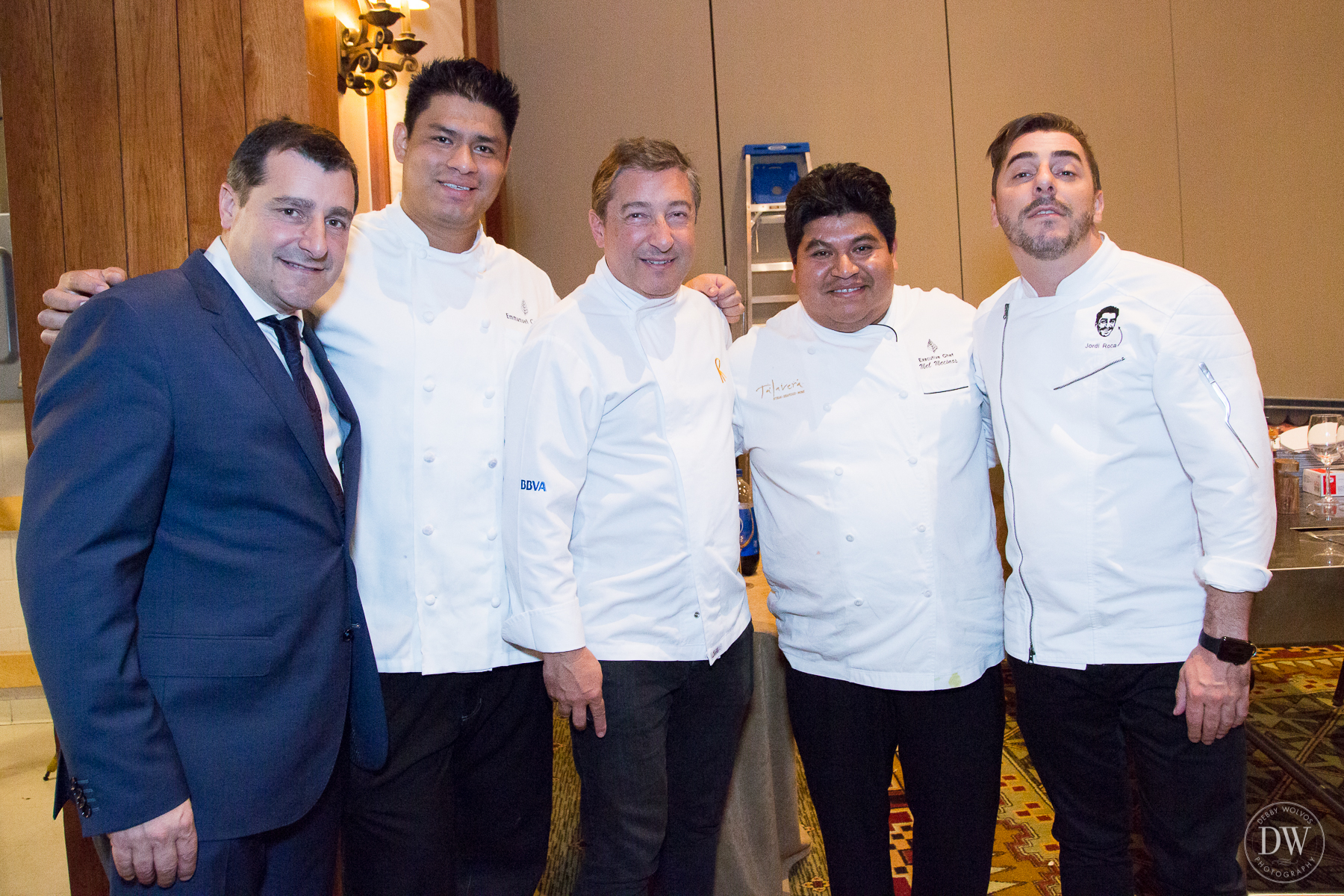 Sommelier Josep Roca, Four Seasons Chef Emmanuel Calderon, Executive Chef Joan Roca, Four Seasons Executive Chef Mel Mecinas, and Pastry Chef Jordi Roca.