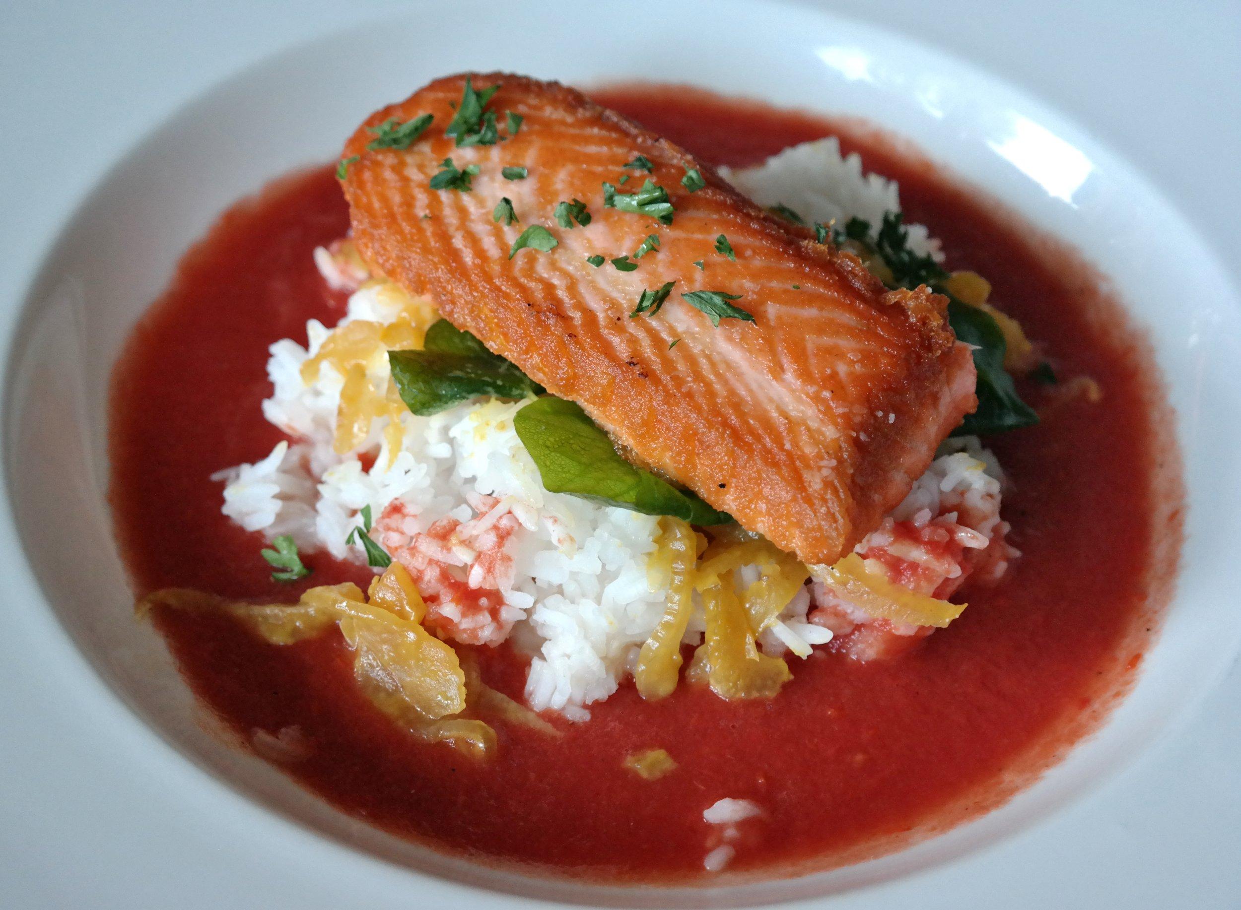 ZuZu: Oro King salmon, jasmine rice, bok choy, shiso, tomato-lemongrass broth