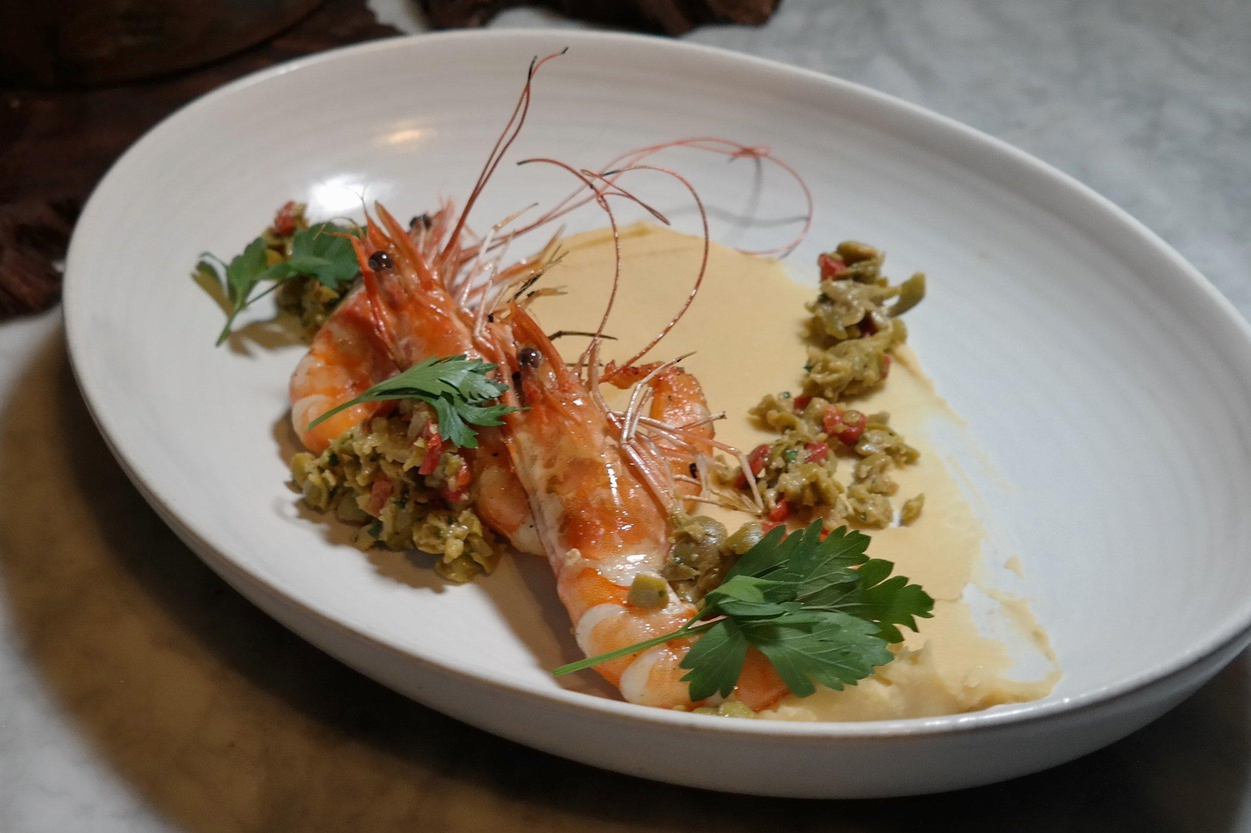 T. Cook's: Garlic roasted prawns, cannellini bean puree, picholine olive tapenade