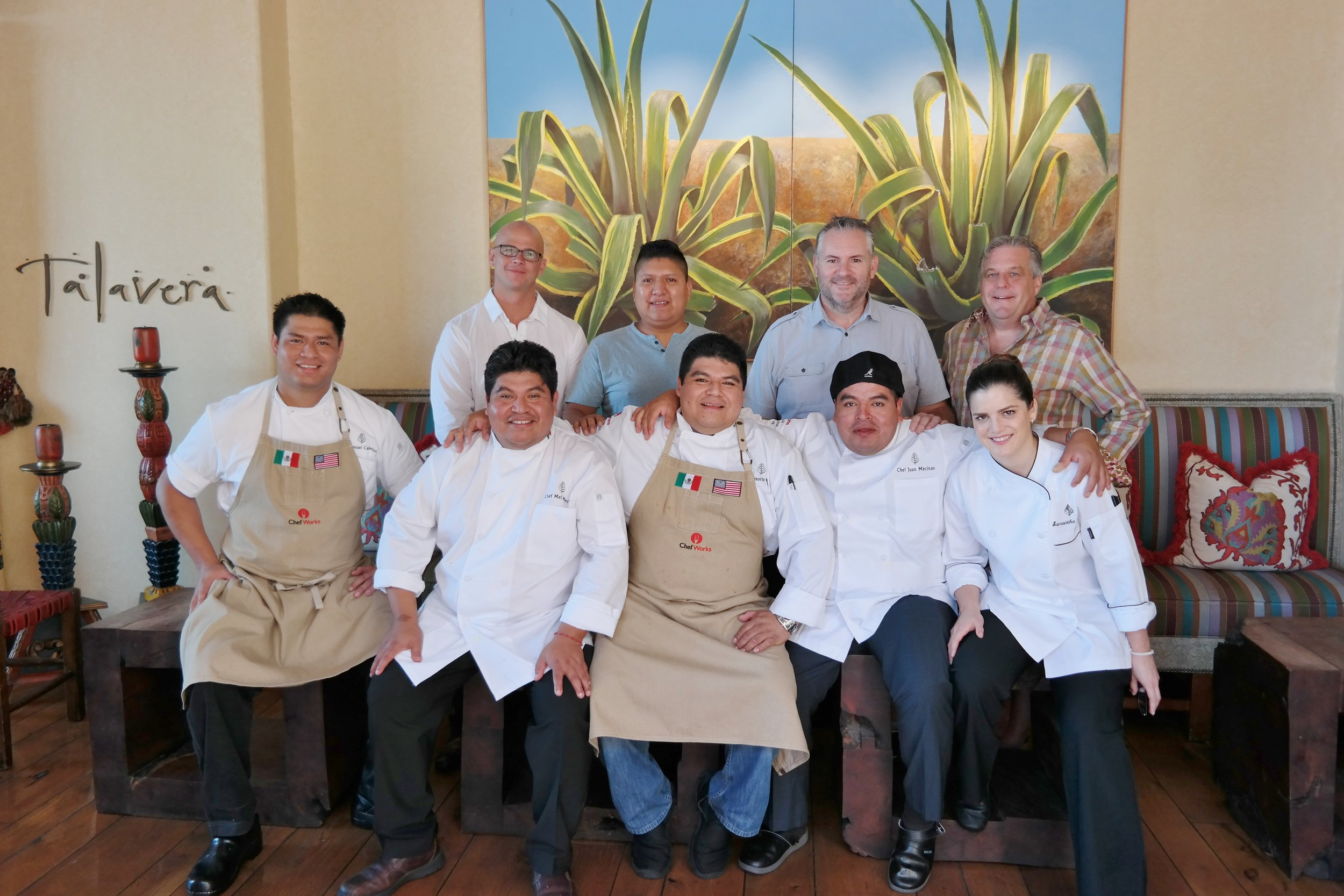 L to R, Row 1: Chefs Manny Calderon, Mel Mecinas, Honorio Mecinas, Juan Mecinas, and Samantha Sanz. Back Row: Chef Cory Oppold of Atlas Bistro, Chef Fidencio Alatriste of Toro, Steve Kraus of Press Coffee, and Chef Michael Cairns of the Omni Scottsdale at Montelucia