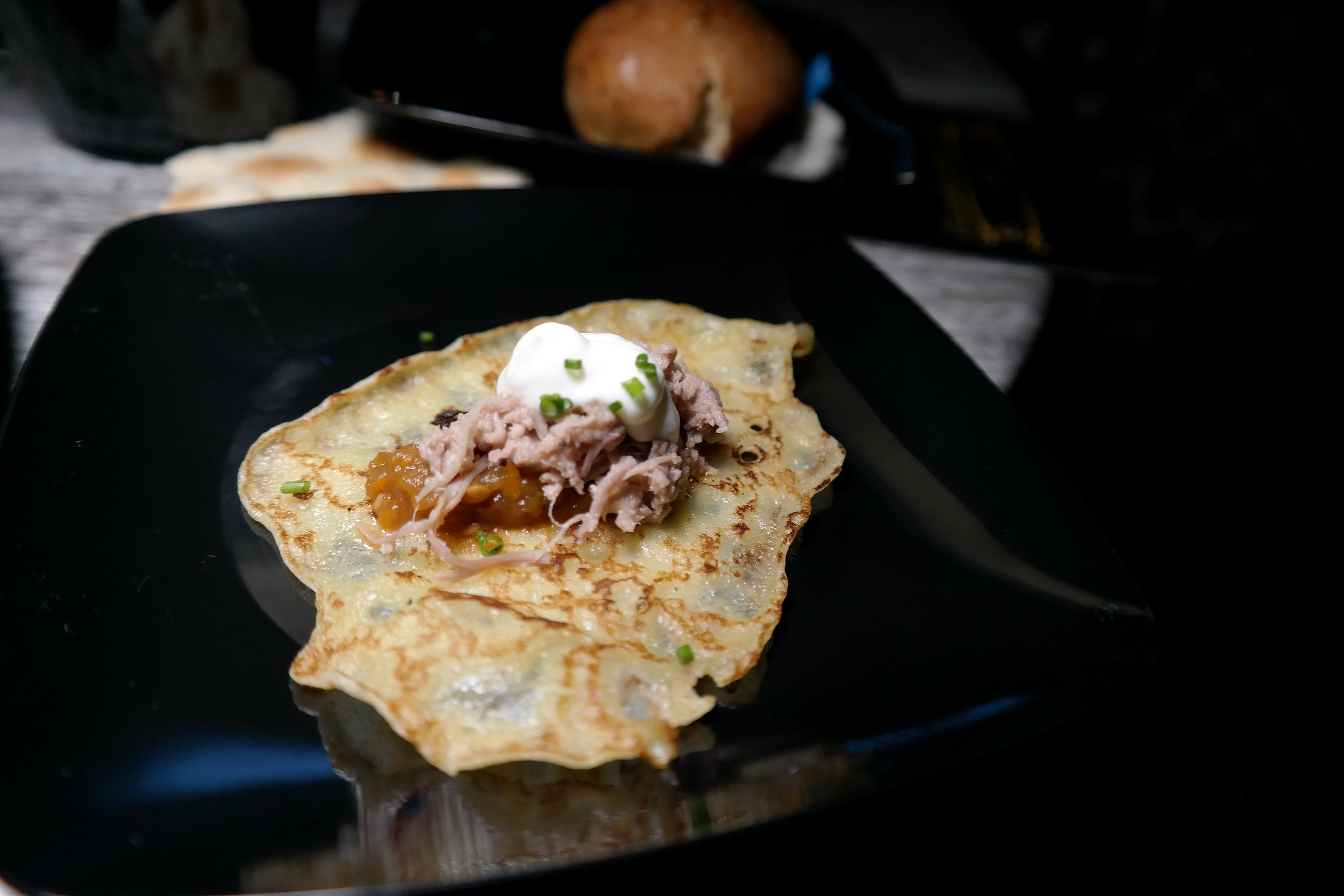 Crepe with roasted duck, lujetenica (chutney), semetana and chives