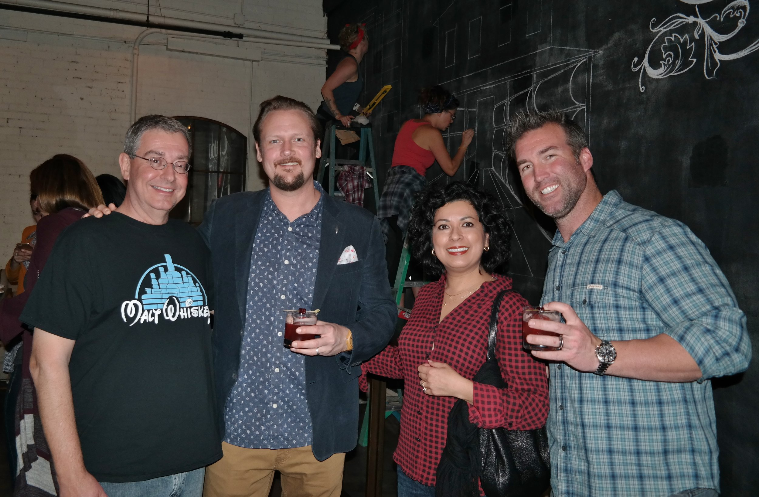 Left to right: Bill Buitenhuys (AZ Bitters Lab), Adam Harris (Beam Suntory Whiskey Ambassador) Lillian Buitenhuys (AZ Bitters Lab) and Anthony DeSantis (Arizona Beam Suntory Specialist)