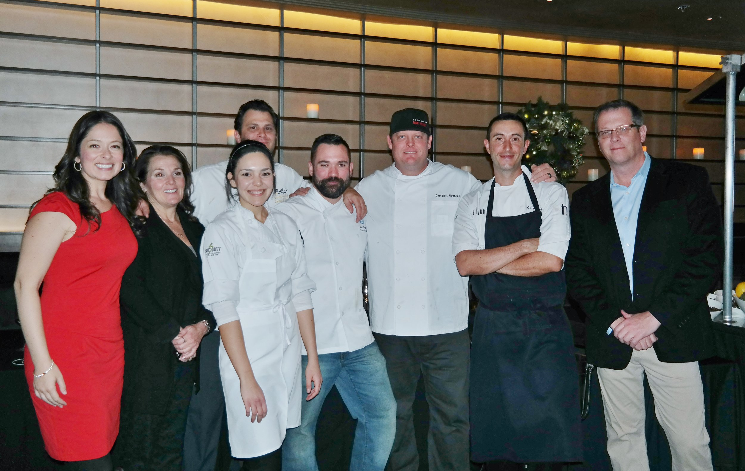 Left to right: Monterey County Communications Manager Jessica Keener,   Executive Director of the Monterey County Vintners & Growers Association Kim Stemler, Pastry Chef Ana Garza, Visiting Monterey chefs Johnny De Vivo and Matthew Beaudin, Executive Chef at the Sanctuary Beau MacMillan, Executive Sous Chef   Chris Schuetta, and Rob O'Keefe, Chief Marketing Officer at Monterey CVB