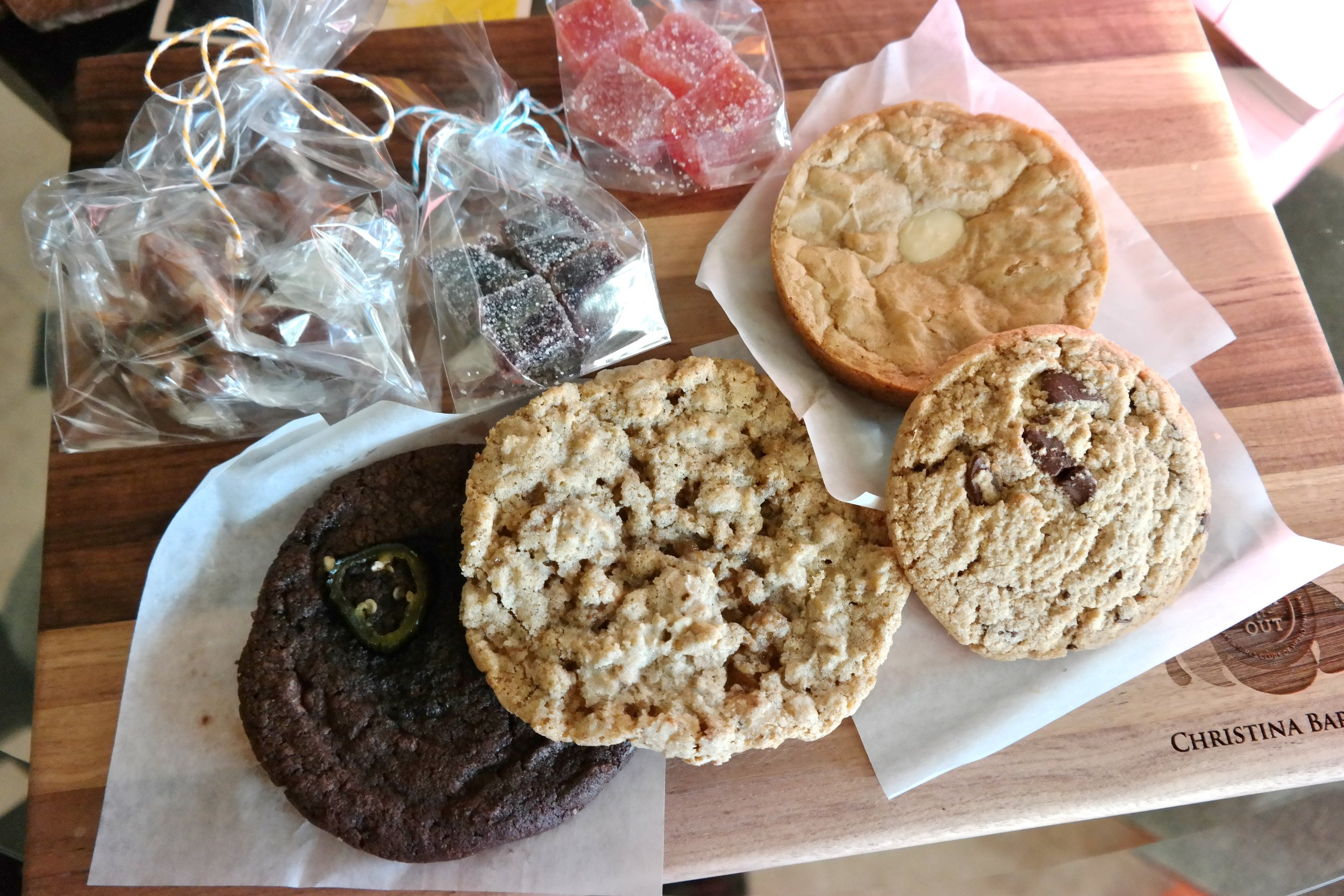 Caramels, jelly candies, a blondie and cookies: Mexican chocolate with cayenne and candied jalapeno, oatmeal rye, and mesquite chocolate chip.