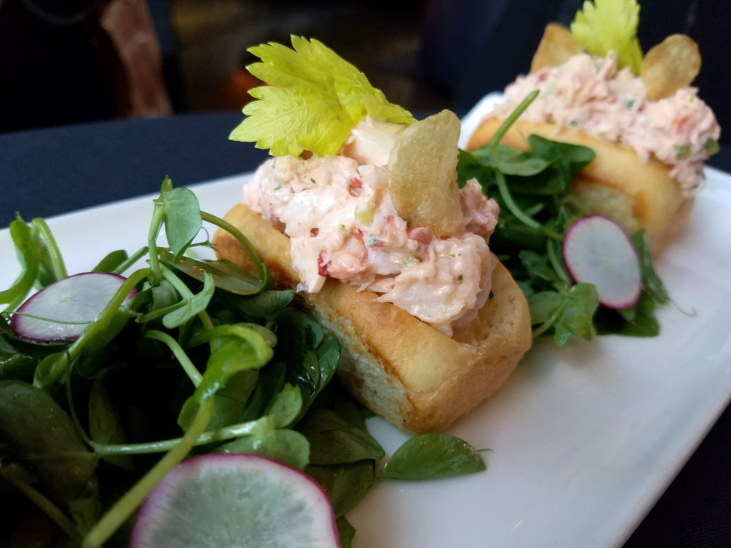 Mini lobster rolls with tarragon and celery