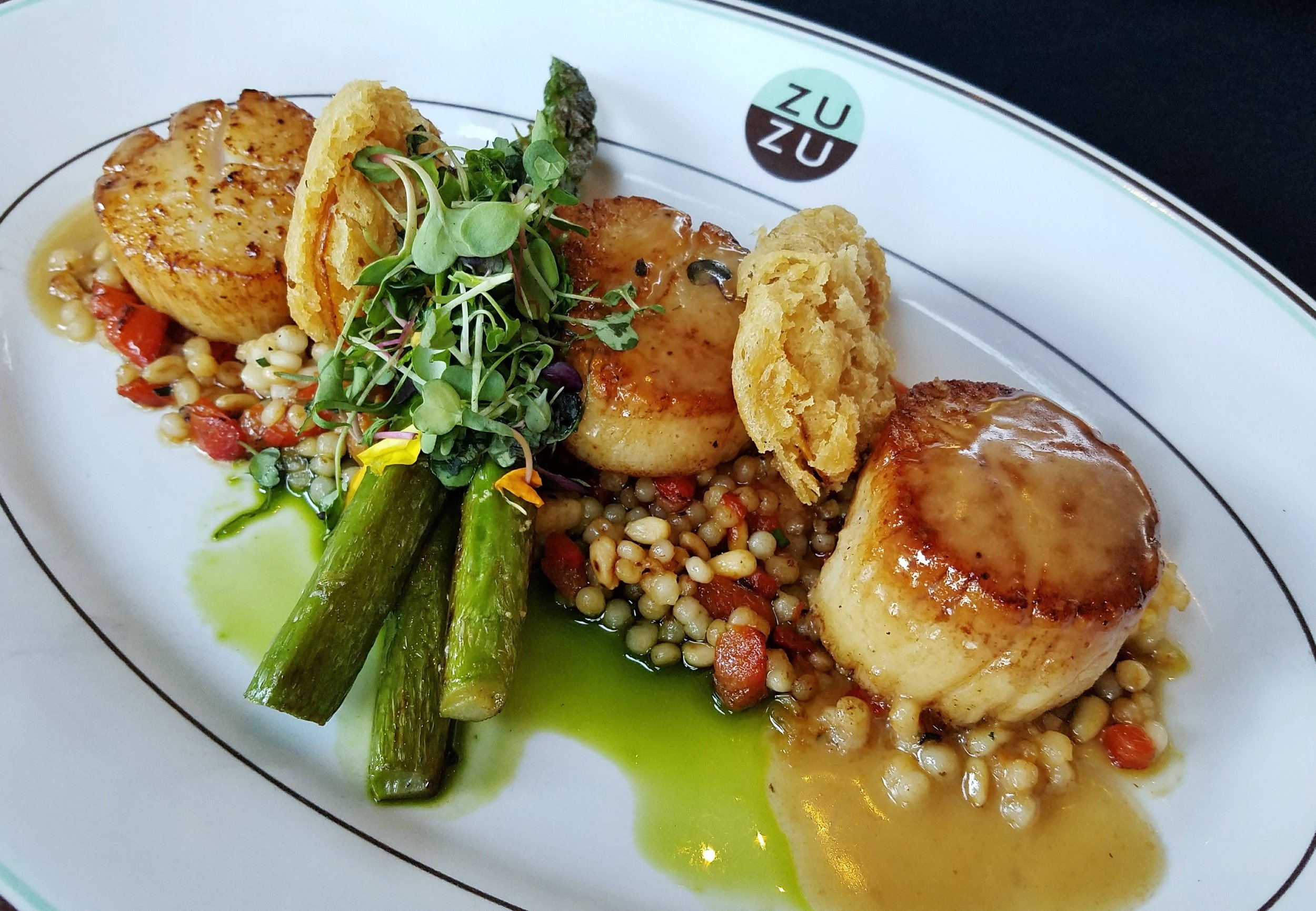 Cafe ZuZu: Chef LaCasce's Hokkaido scallops with shellfish butter, asparagus, fried meyer lemon, and toasted pearl couscous