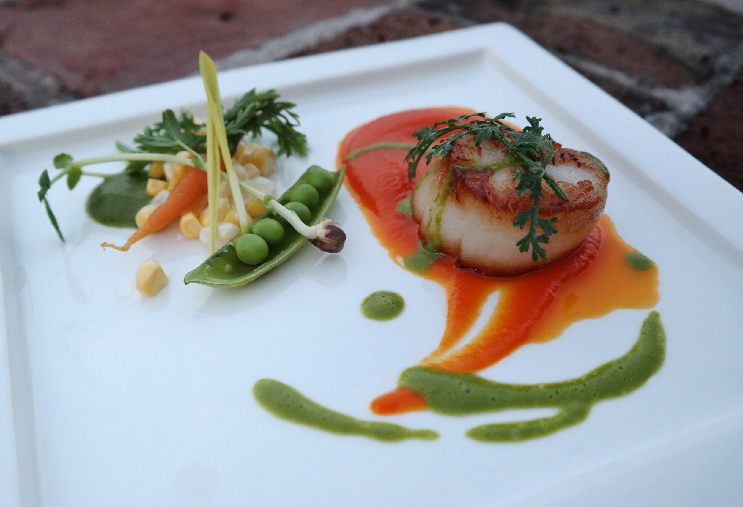 Chef ShaBazz: Seared Scallops with Pea Vinaigrette and Carrot Glaze