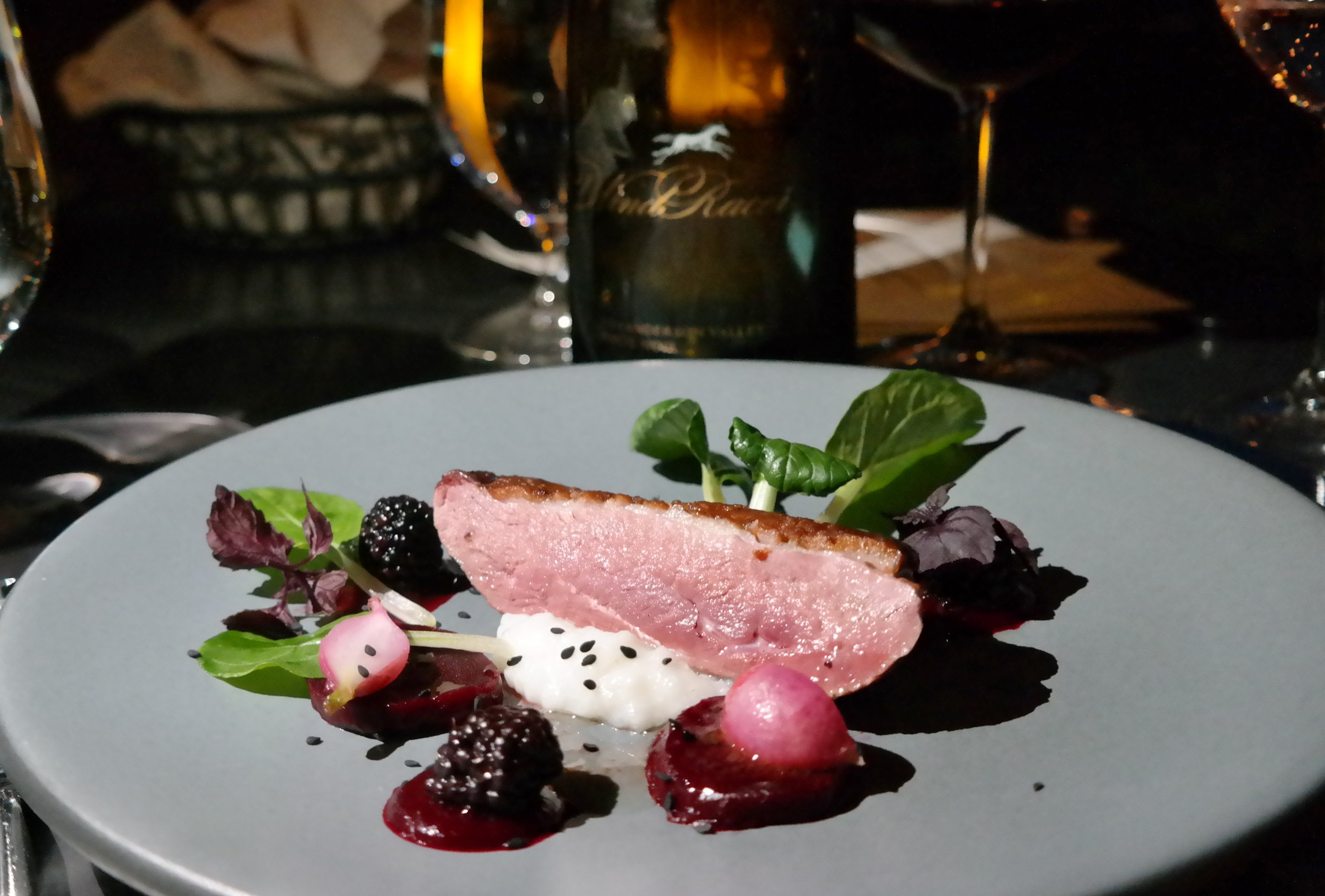Chef Wangler: Smoked Duck with Corn Grits and Pickled Blackberries paired with WindRacer Anderson Valley Pinot Noir 2012