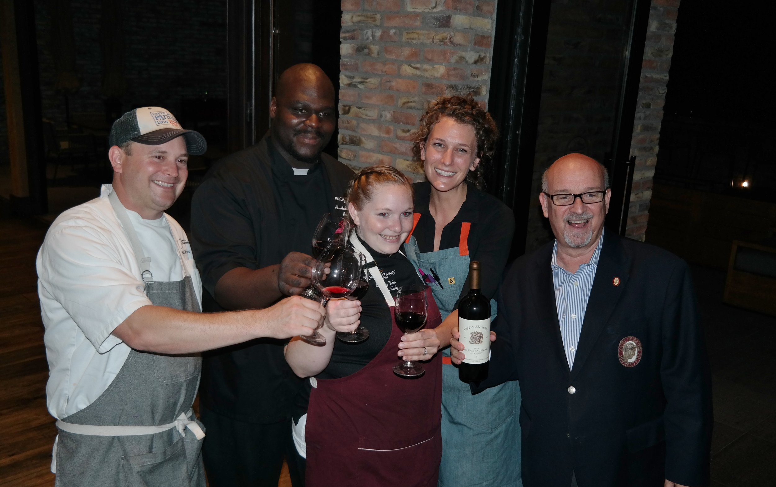 L to R:  Chefs Wangler, ShaBazz, Dale and Gurney, and Master Sommelier Jordan
