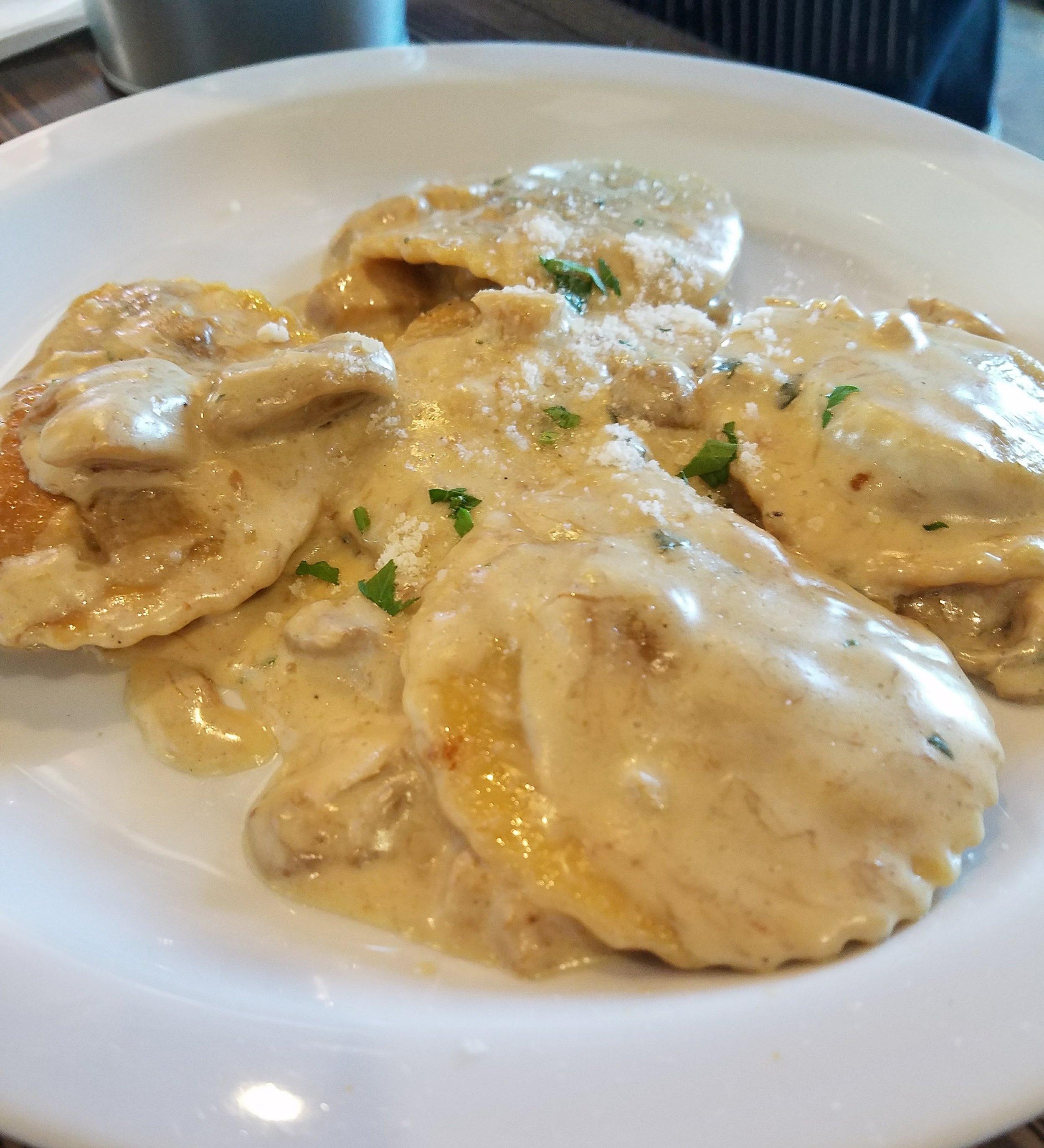 Short rib ravioli with porcini cream sauce (a special)