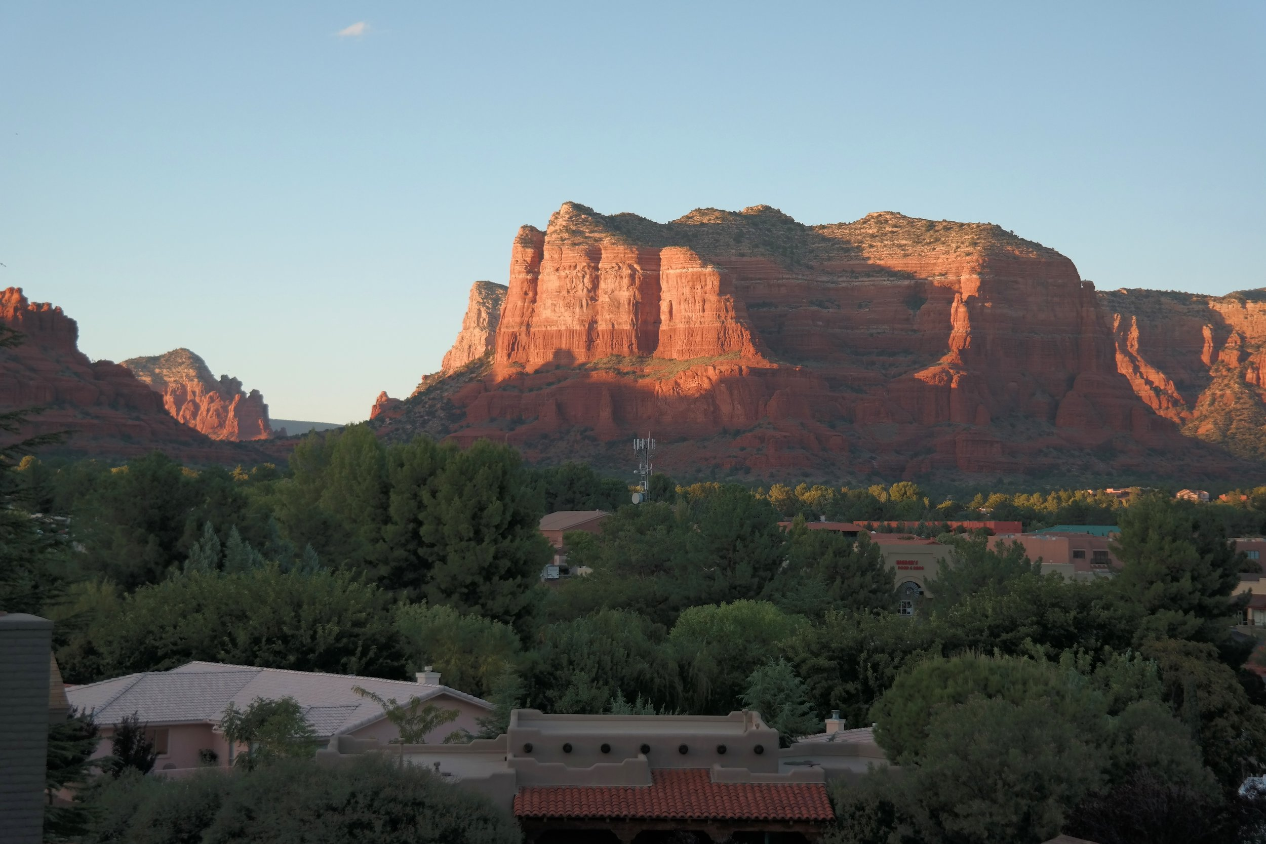 The view from the patio of our suite at Hilton Sedona at Bell Rock as the sun sets