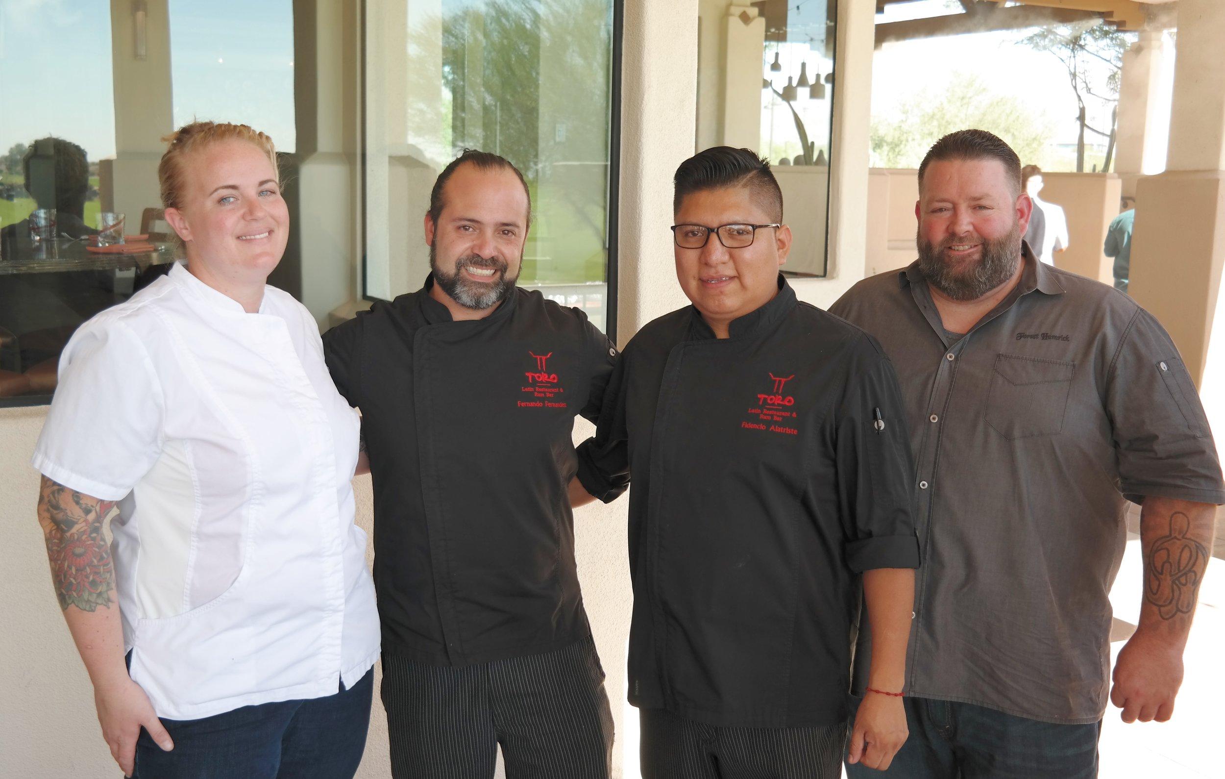 Chefs Garrant, Fernandez, Alatriste, and Hamrick