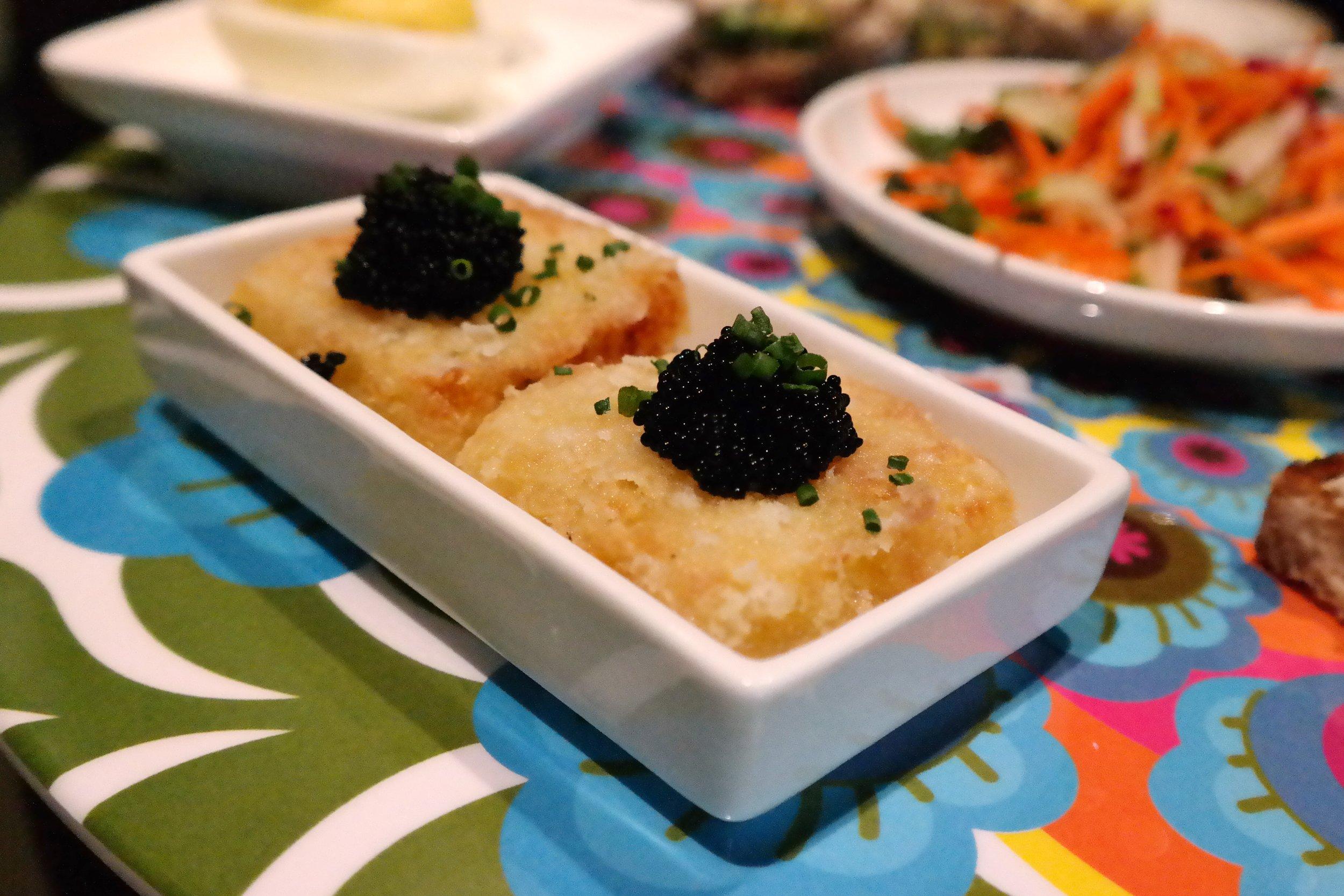 Tater tots with caviar