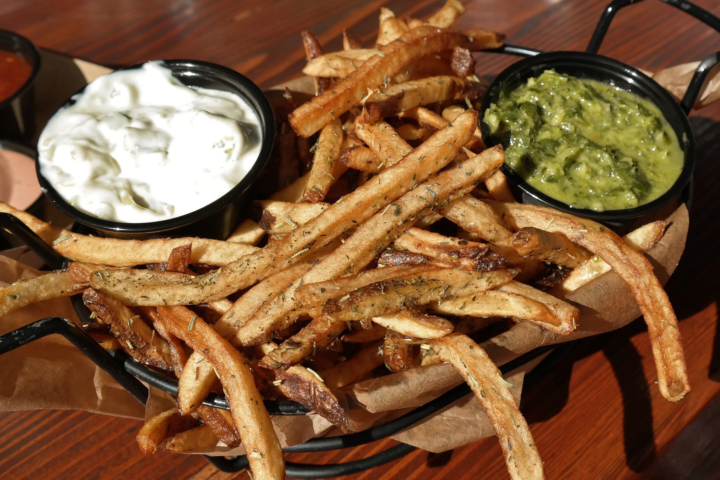 DB frites with Hatch chile mayo and chimichurri