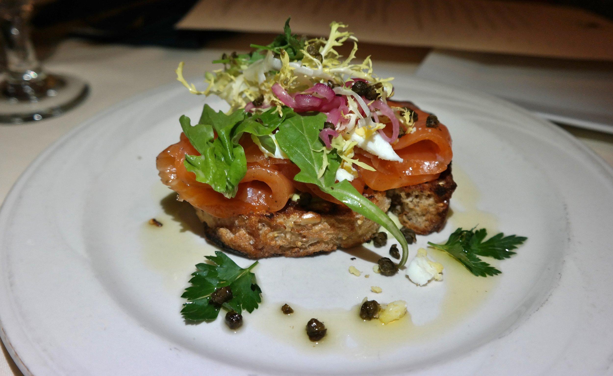 Smoked salmon tartine